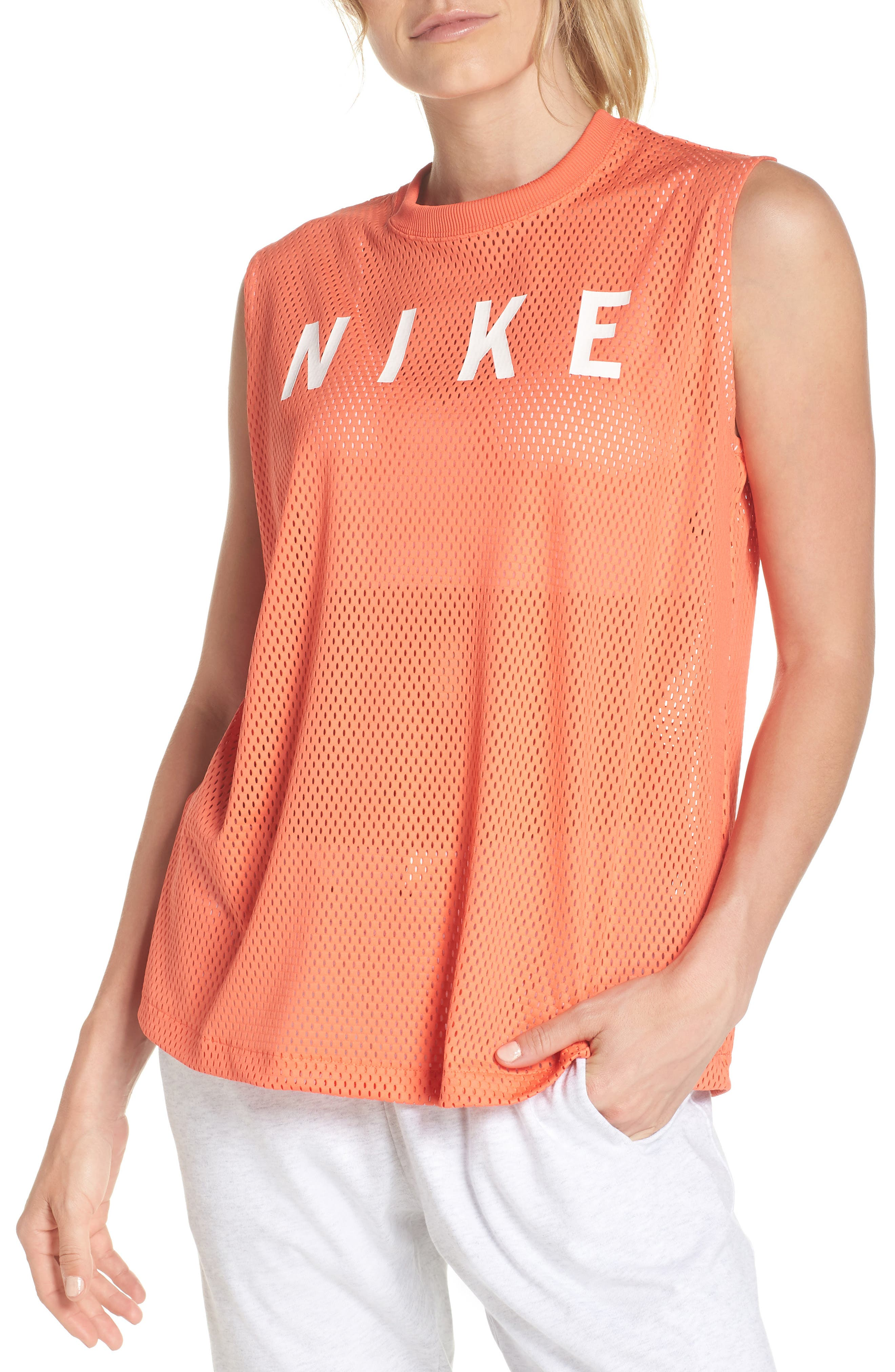 Sportswear Women's Dry Mesh Muscle Tank,                         Main,                         color, Rush Coral/ White