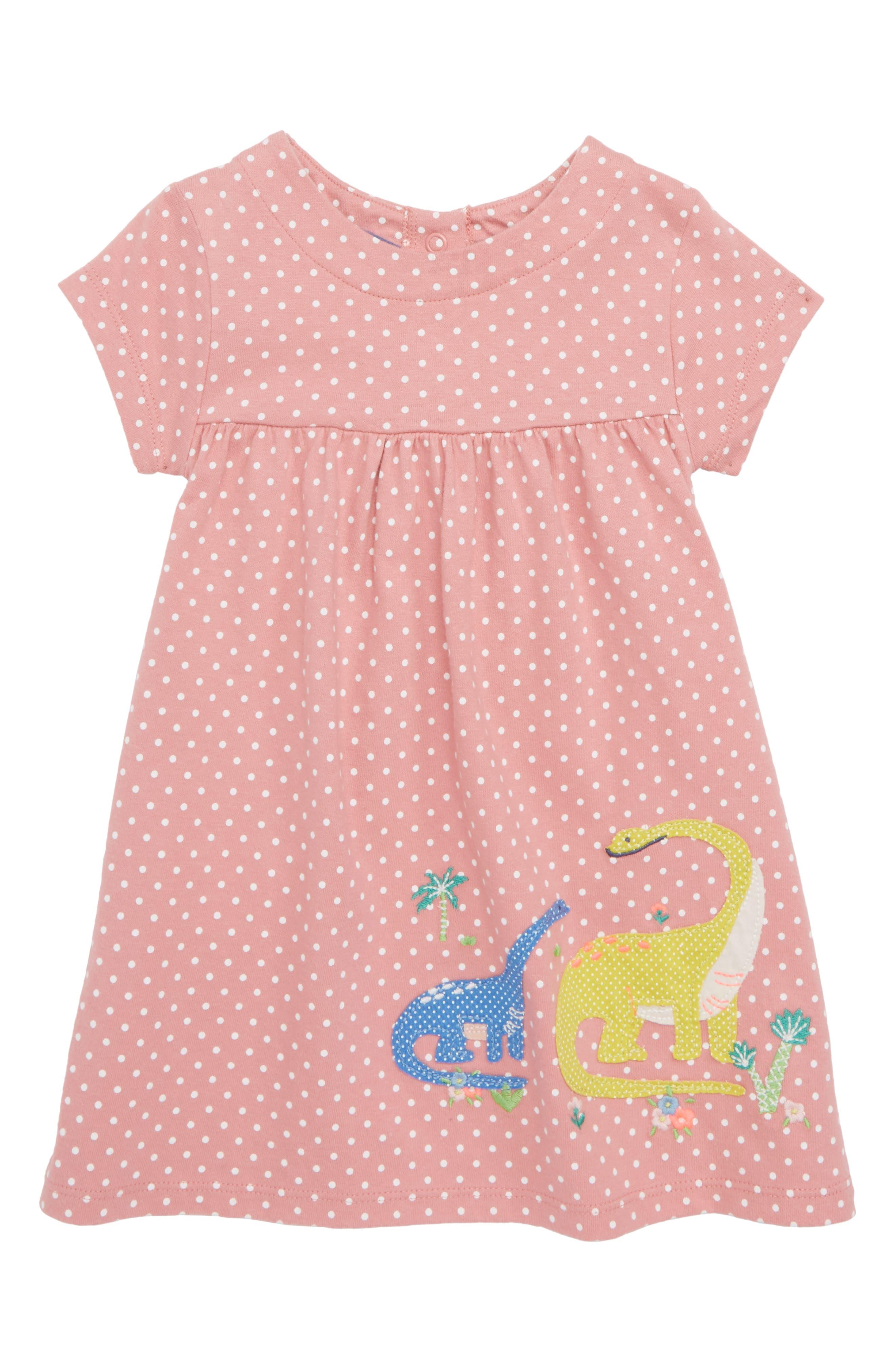 Mini Boden Dinosaur Appliqué Jersey Dress (Baby Girls)