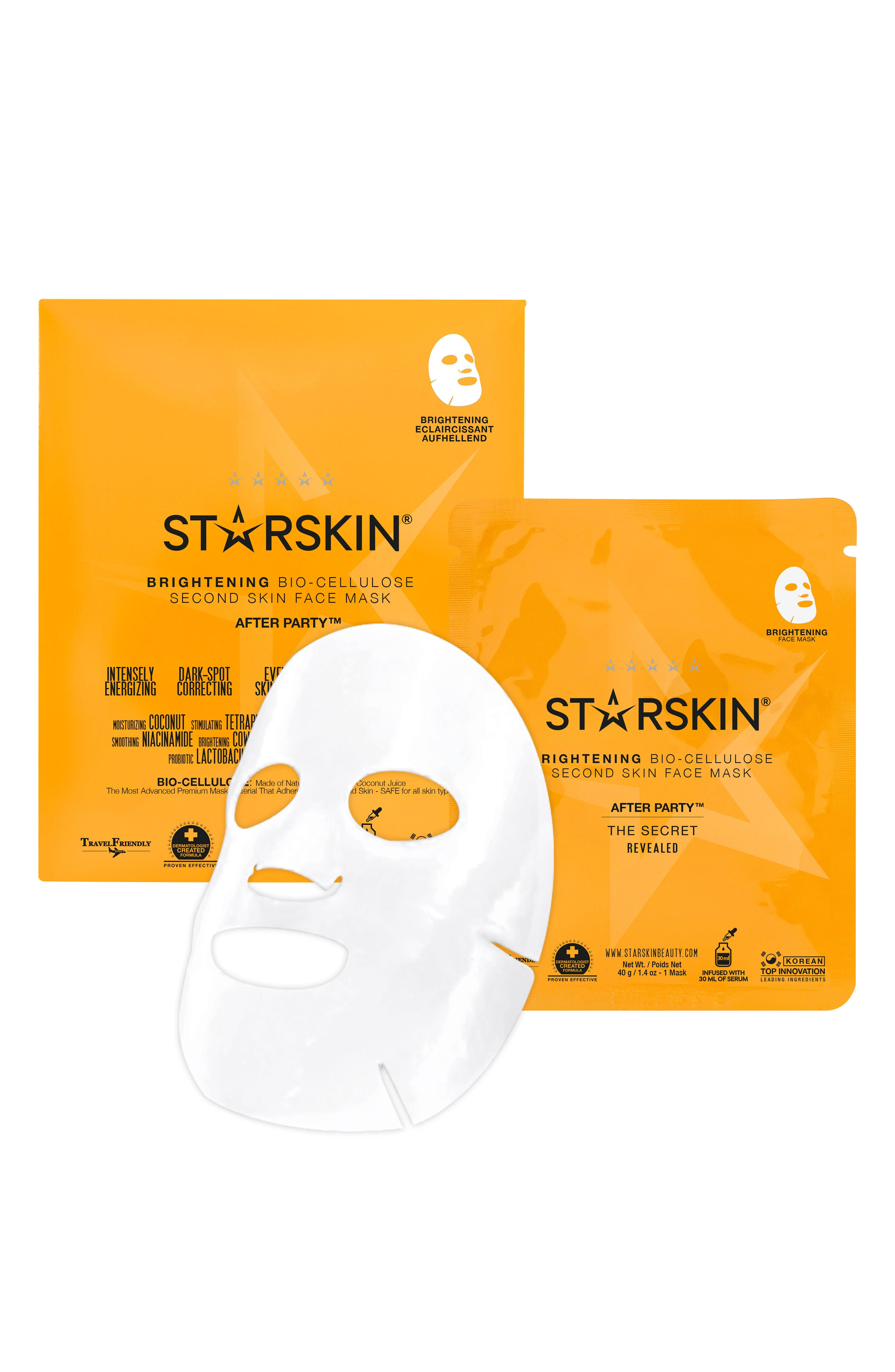 After Party Bio-Cellulose Brightening Face Mask,                             Main thumbnail 1, color,                             No Color