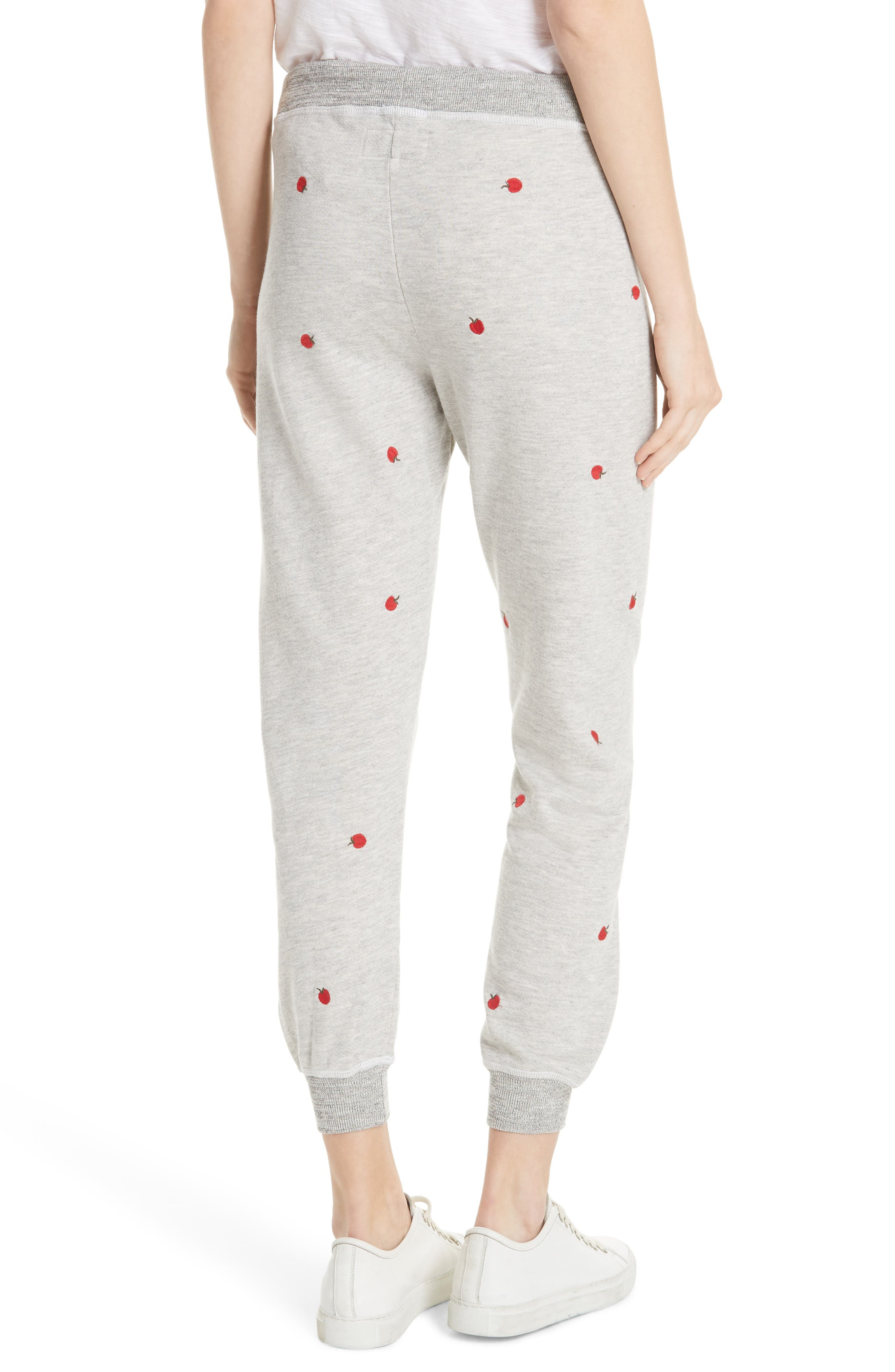 The Cropped Sweatpants,                             Alternate thumbnail 2, color,                             Light Heather Grey/ Red Apples