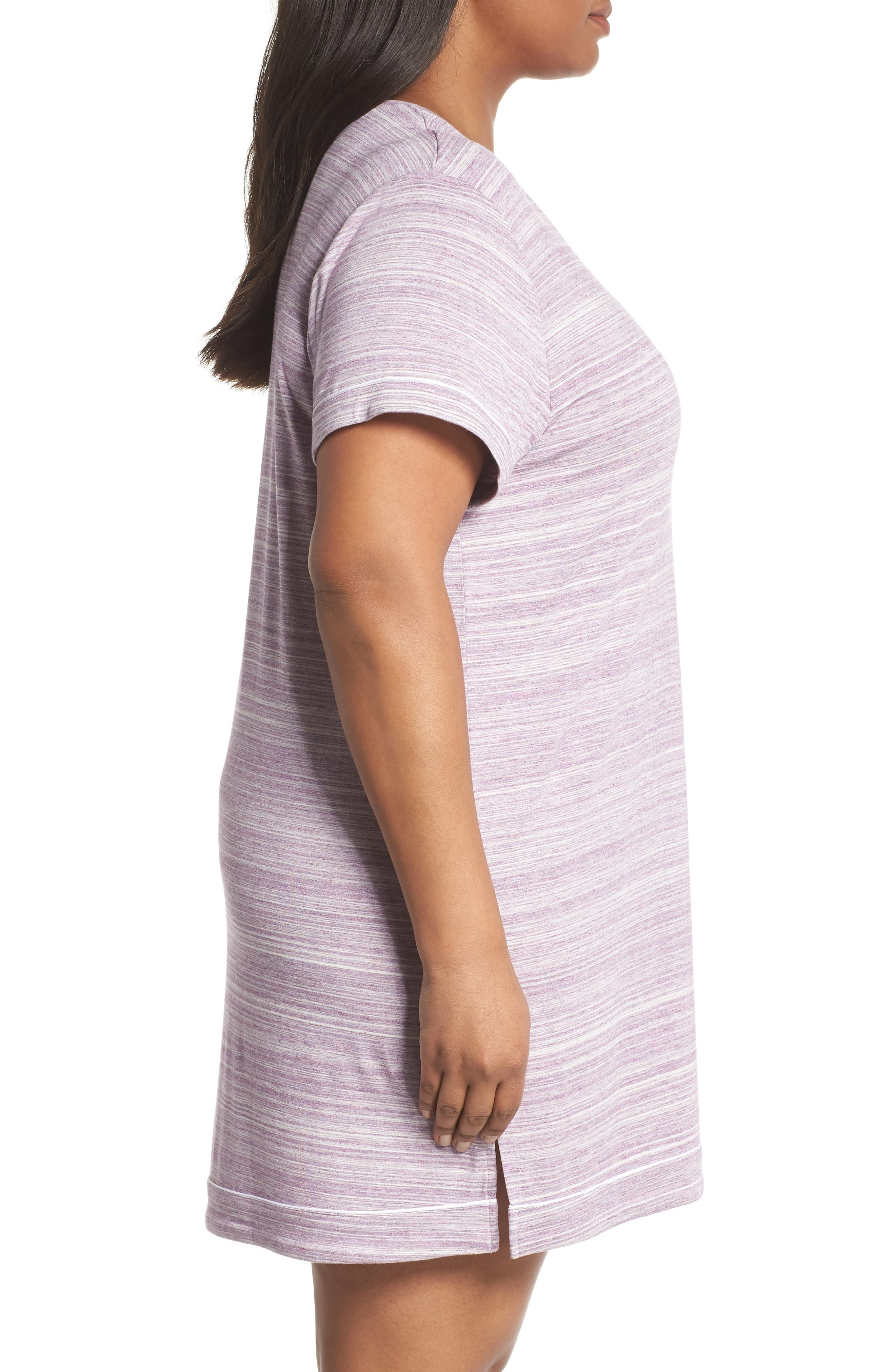 Moonlight V-Neck Nightshirt,                             Alternate thumbnail 3, color,                             Purple Spacedye