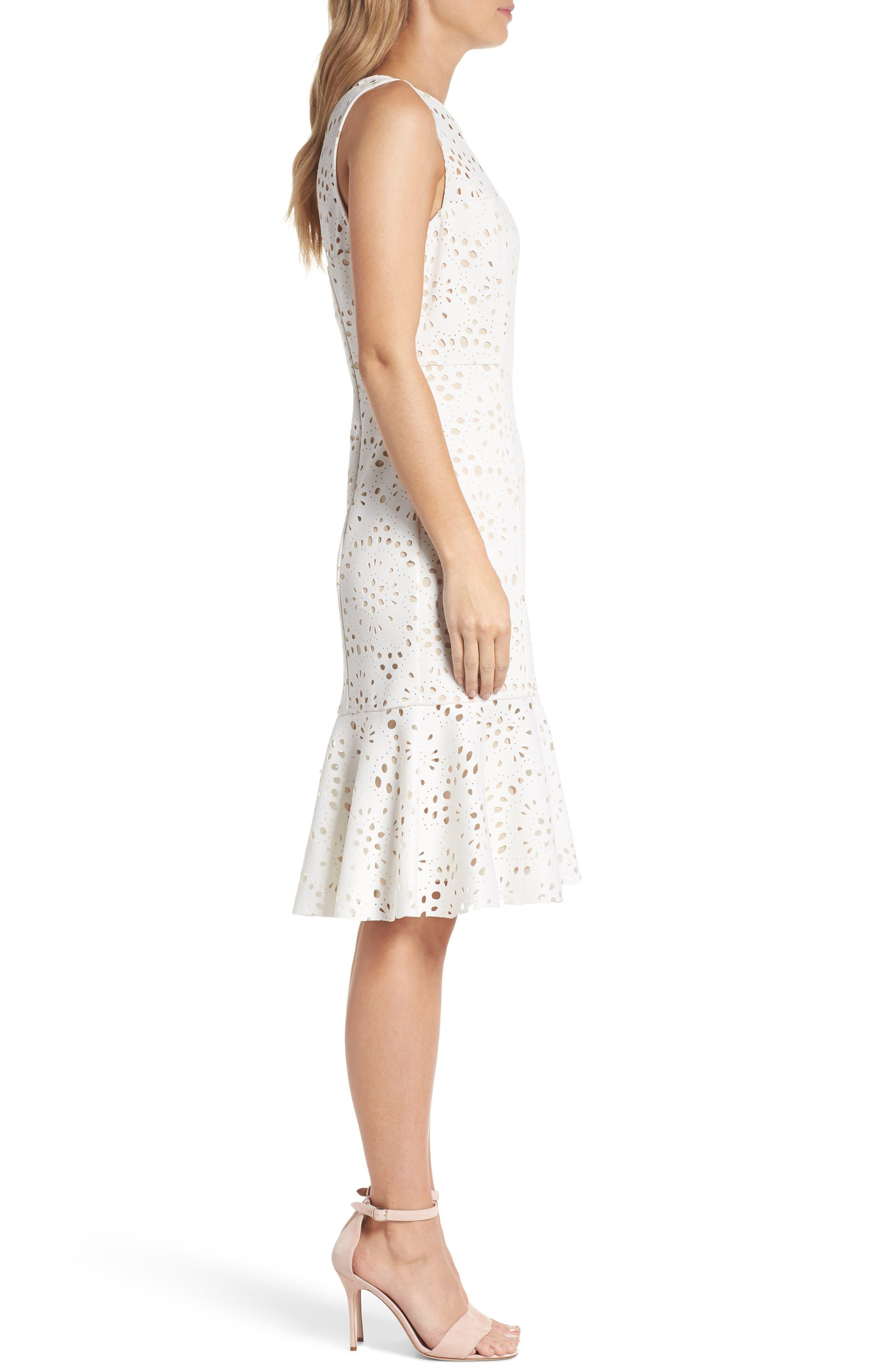 Flounce Laser Cut Scuba Dress,                             Alternate thumbnail 3, color,                             White