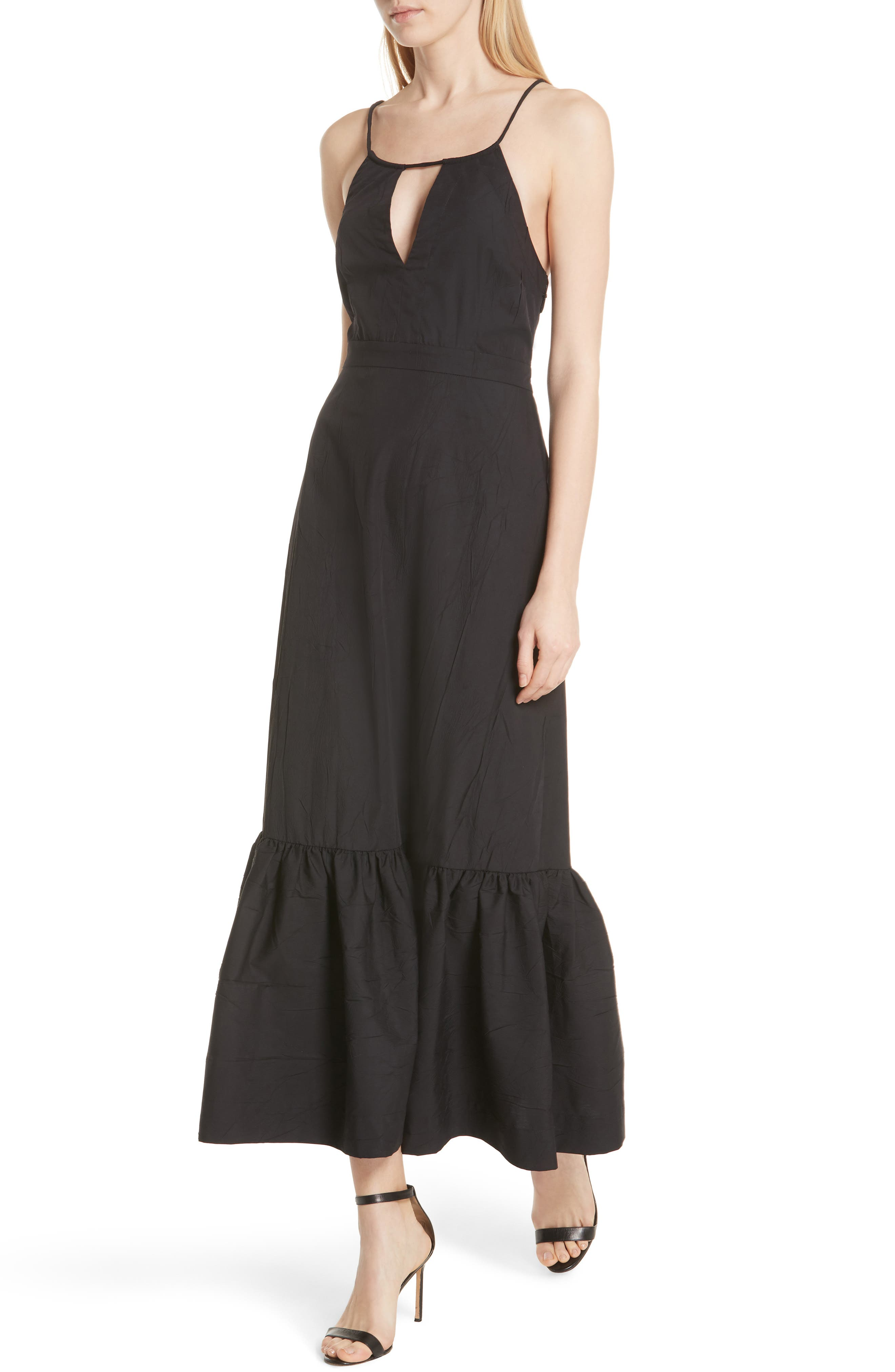 Tiered Halter Keyhole Dress,                             Alternate thumbnail 4, color,                             Black