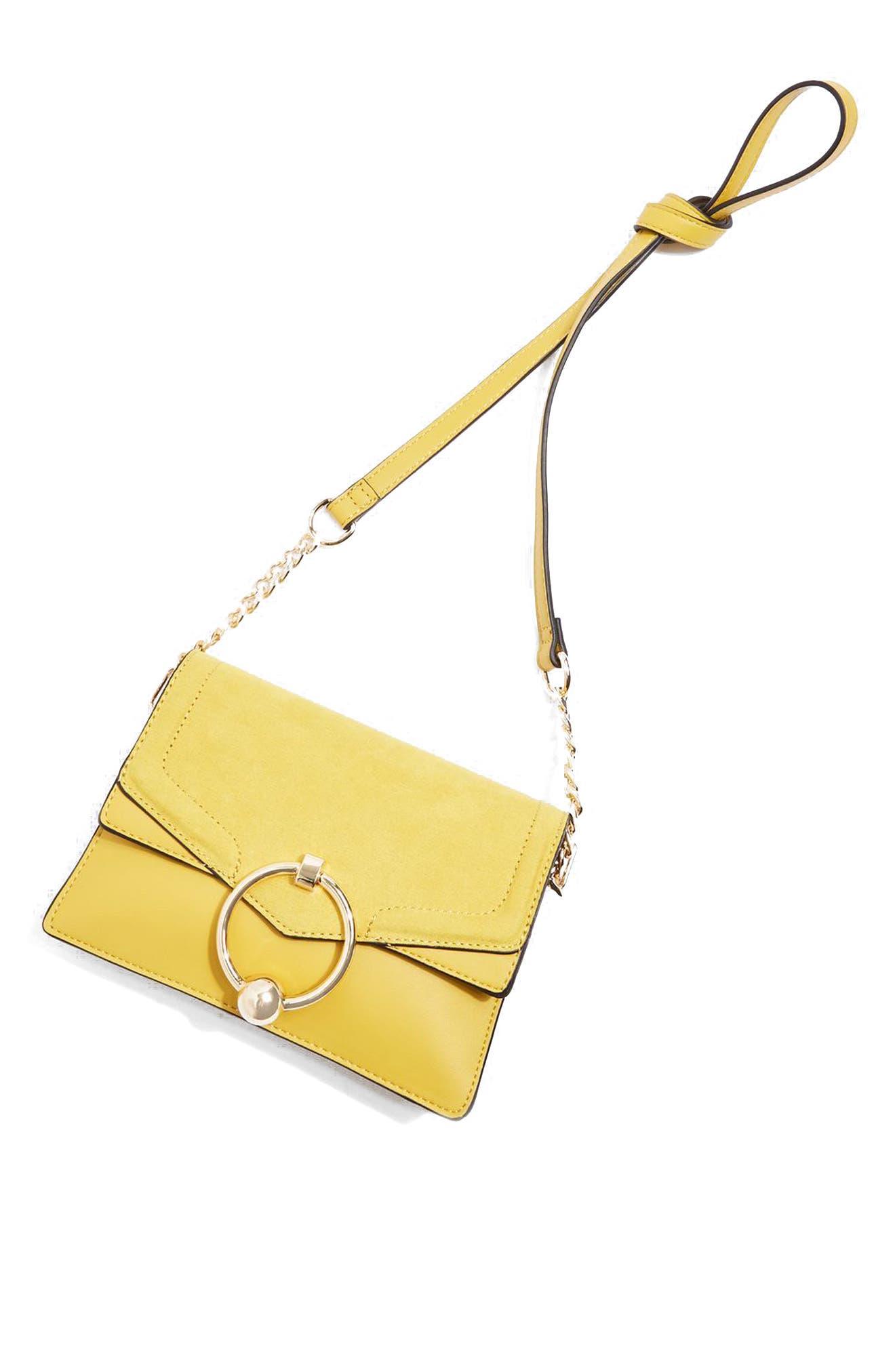 Seline Faux Leather Crossbody Bag,                             Alternate thumbnail 8, color,                             Yellow Multi