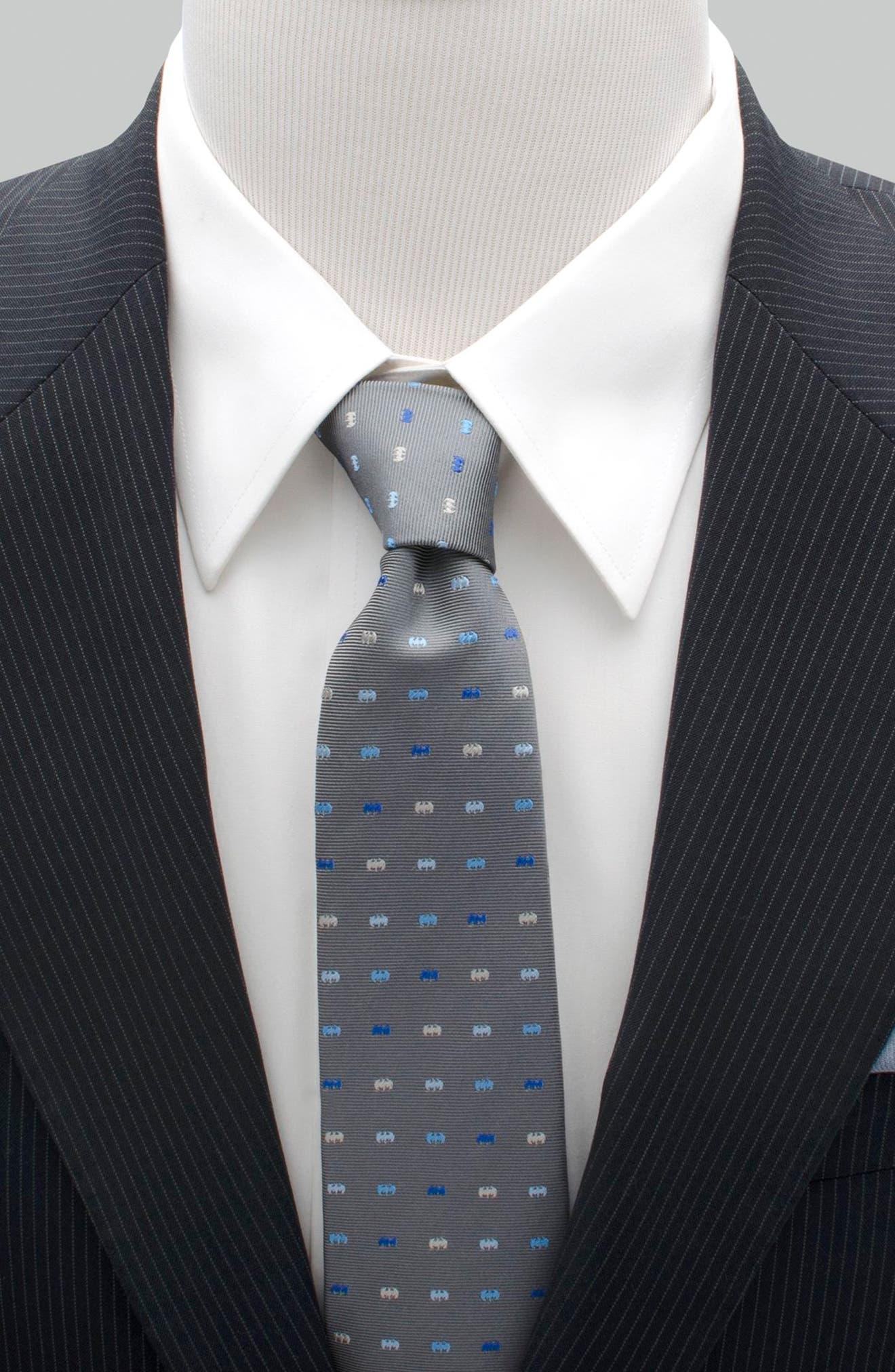 Batman Icon Silk Tie,                             Alternate thumbnail 2, color,                             Grey