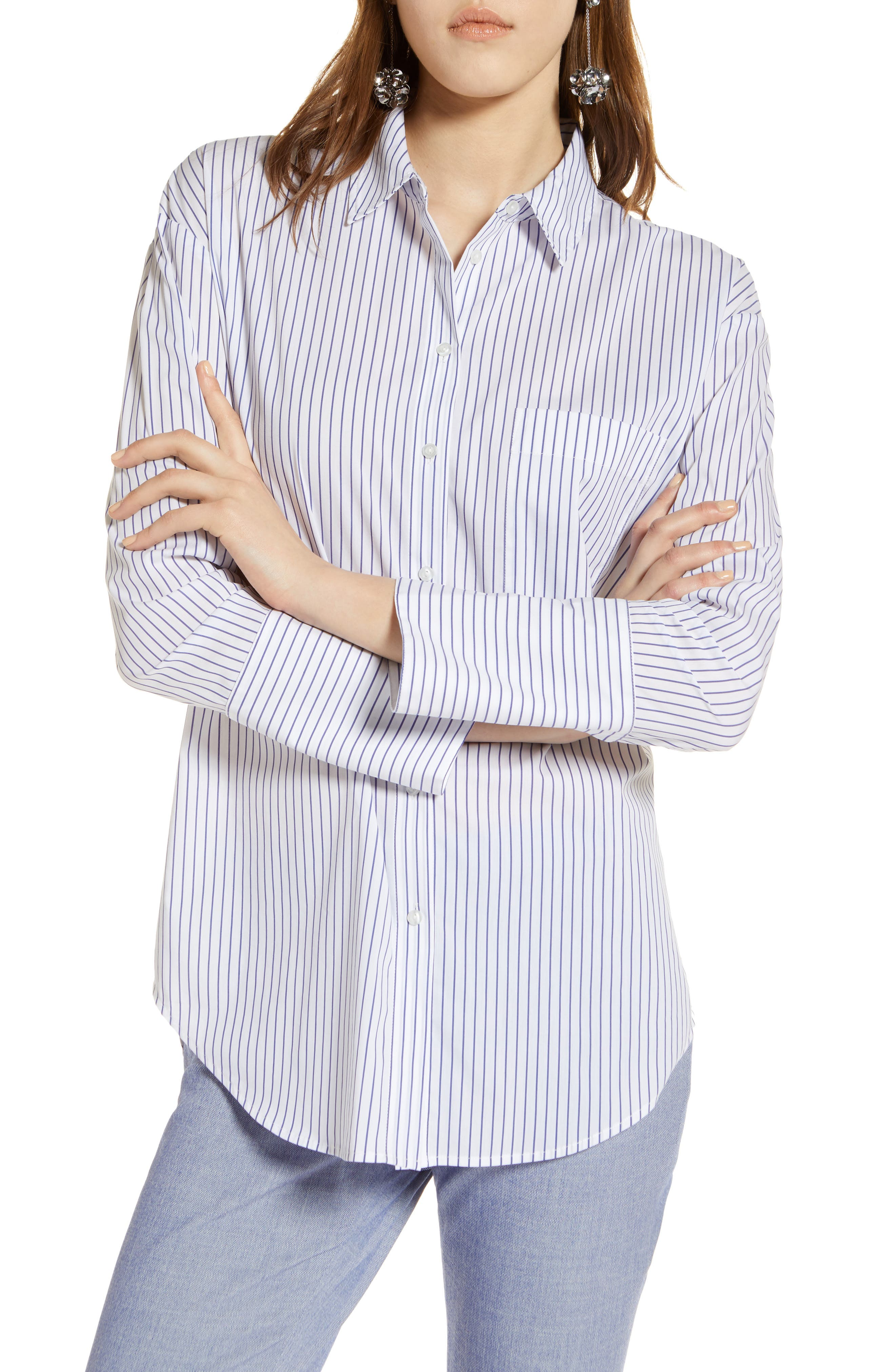 Alternate Image 1 Selected - Halogen® Tie Front Poplin Shirt (Regular & Petite)