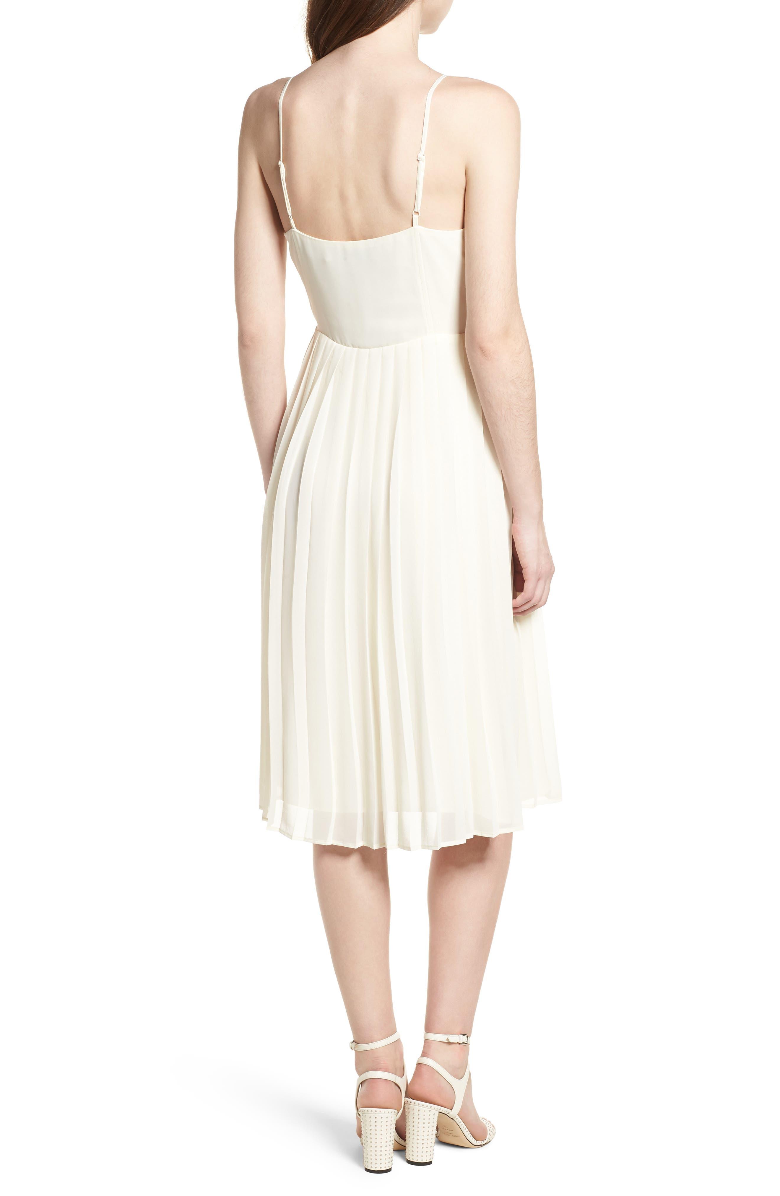 Deena Pleated Dress,                             Alternate thumbnail 2, color,                             Ivory