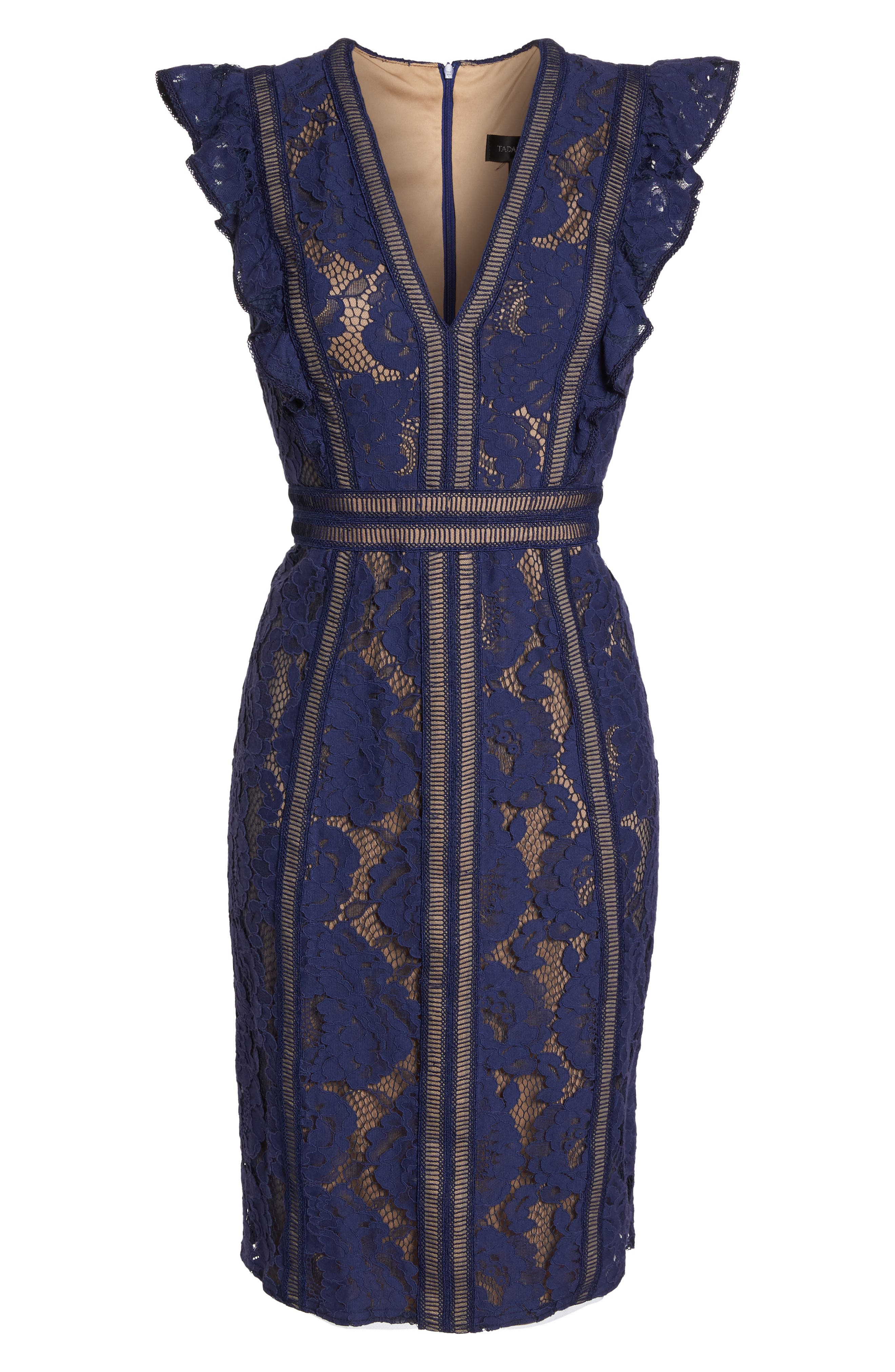 Lace Sheath Dress,                             Alternate thumbnail 6, color,                             Notte/ Nude