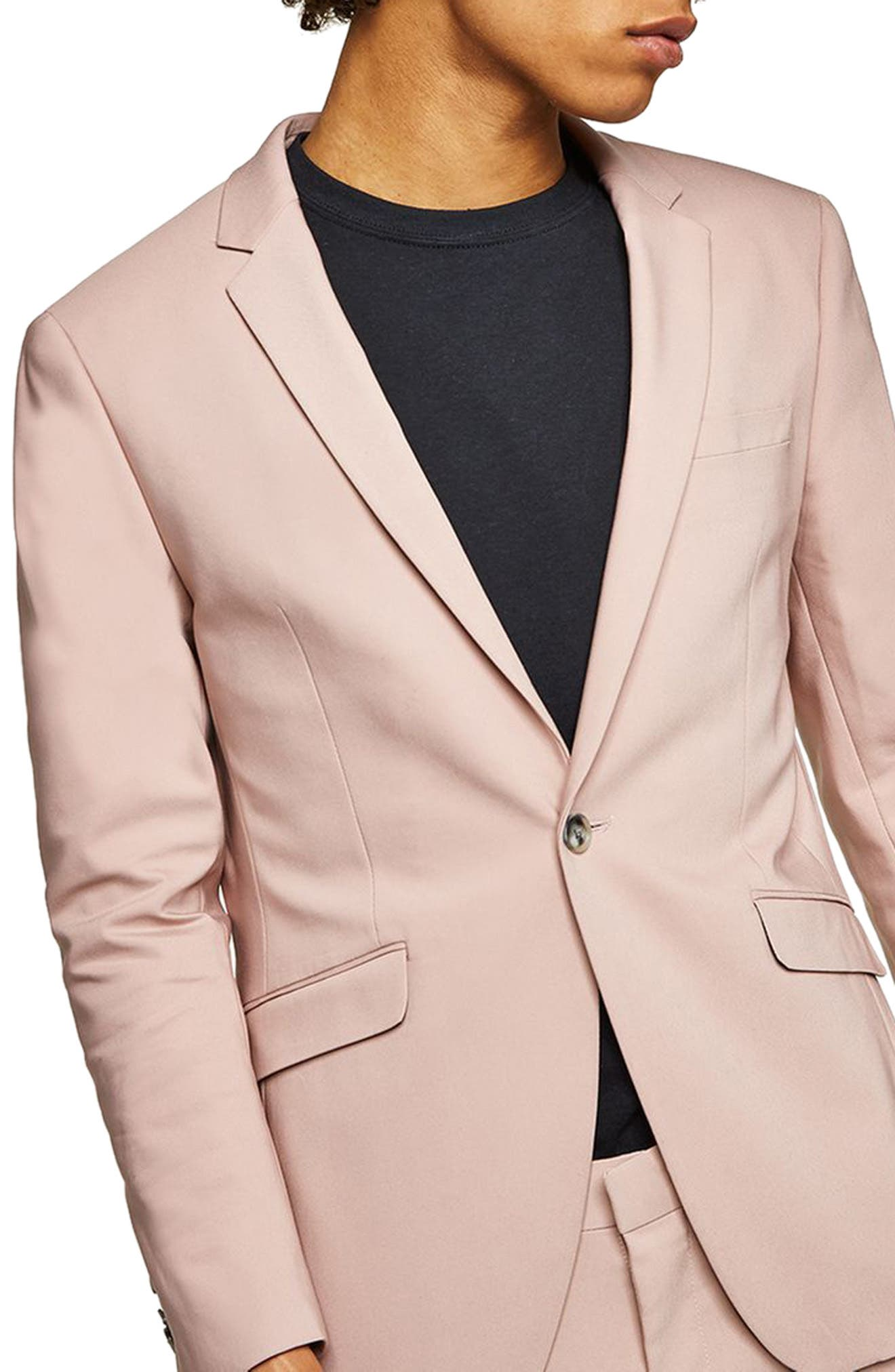 Skinny Fit Suit Jacket,                             Main thumbnail 1, color,                             Pink Multi