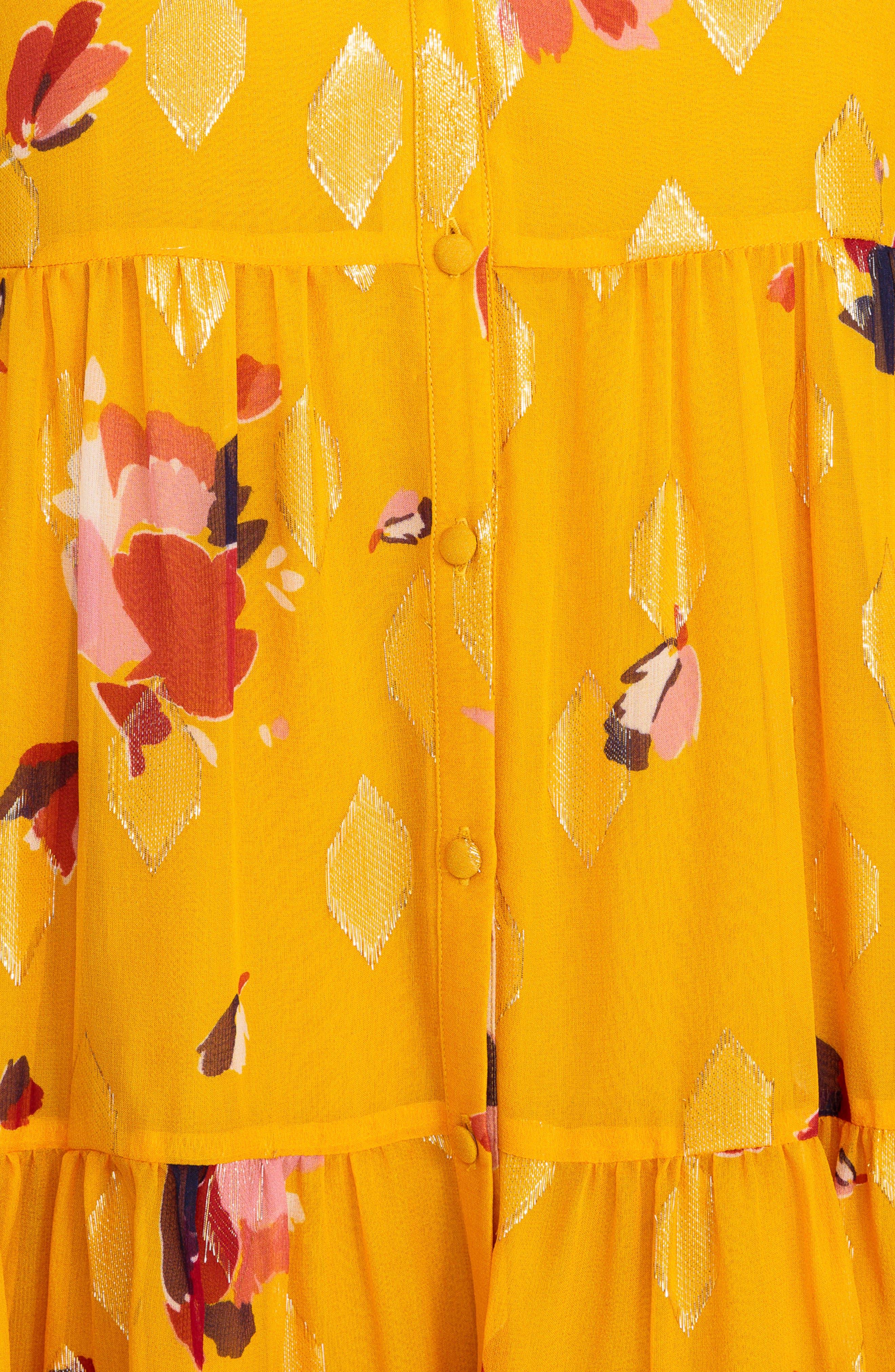 Aure Silk A-Line Dress,                             Alternate thumbnail 6, color,                             Big Flowers 60S On Saffron