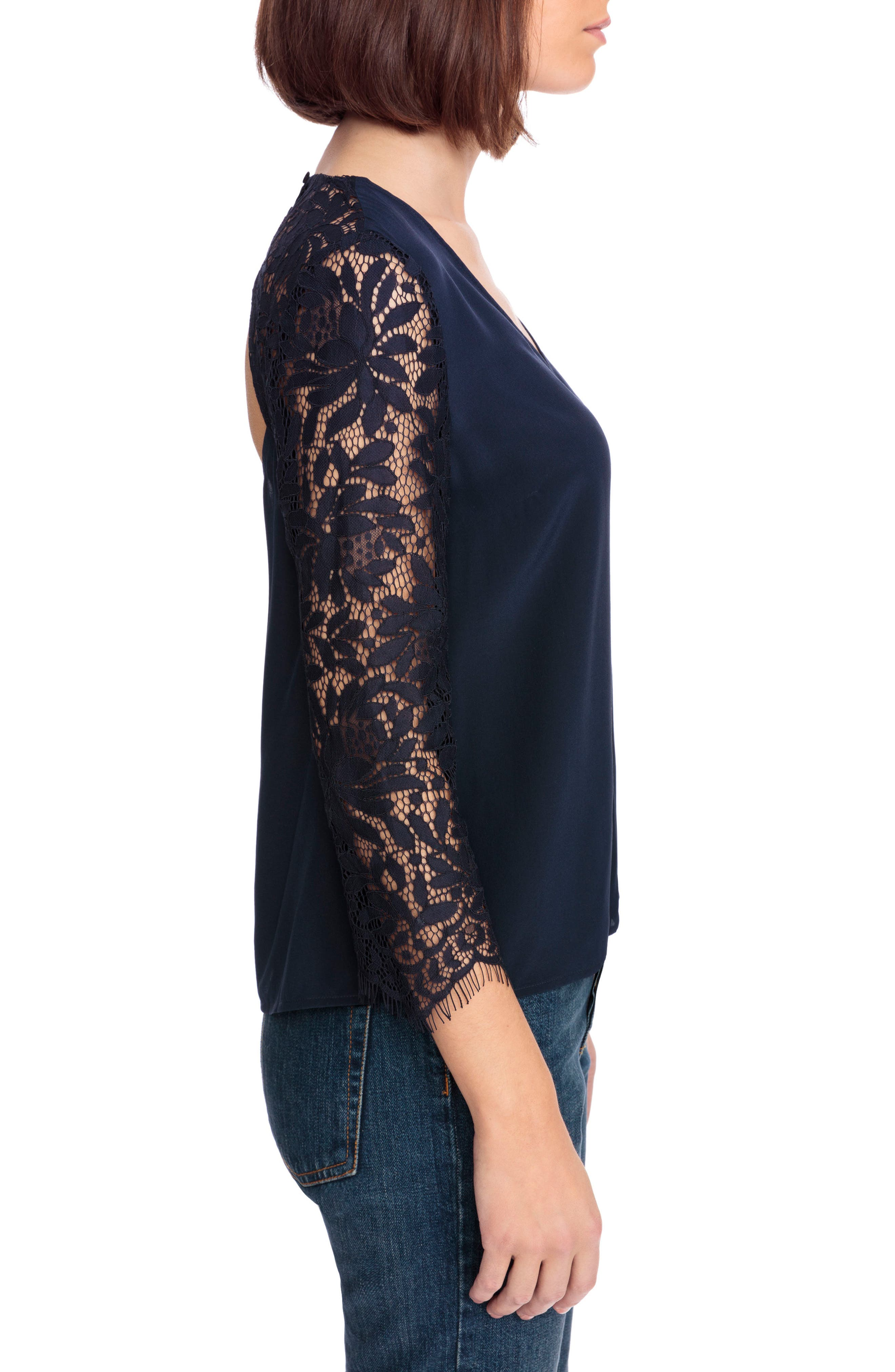 April Lace Sleeve Silk Blouse,                             Alternate thumbnail 4, color,                             Navy