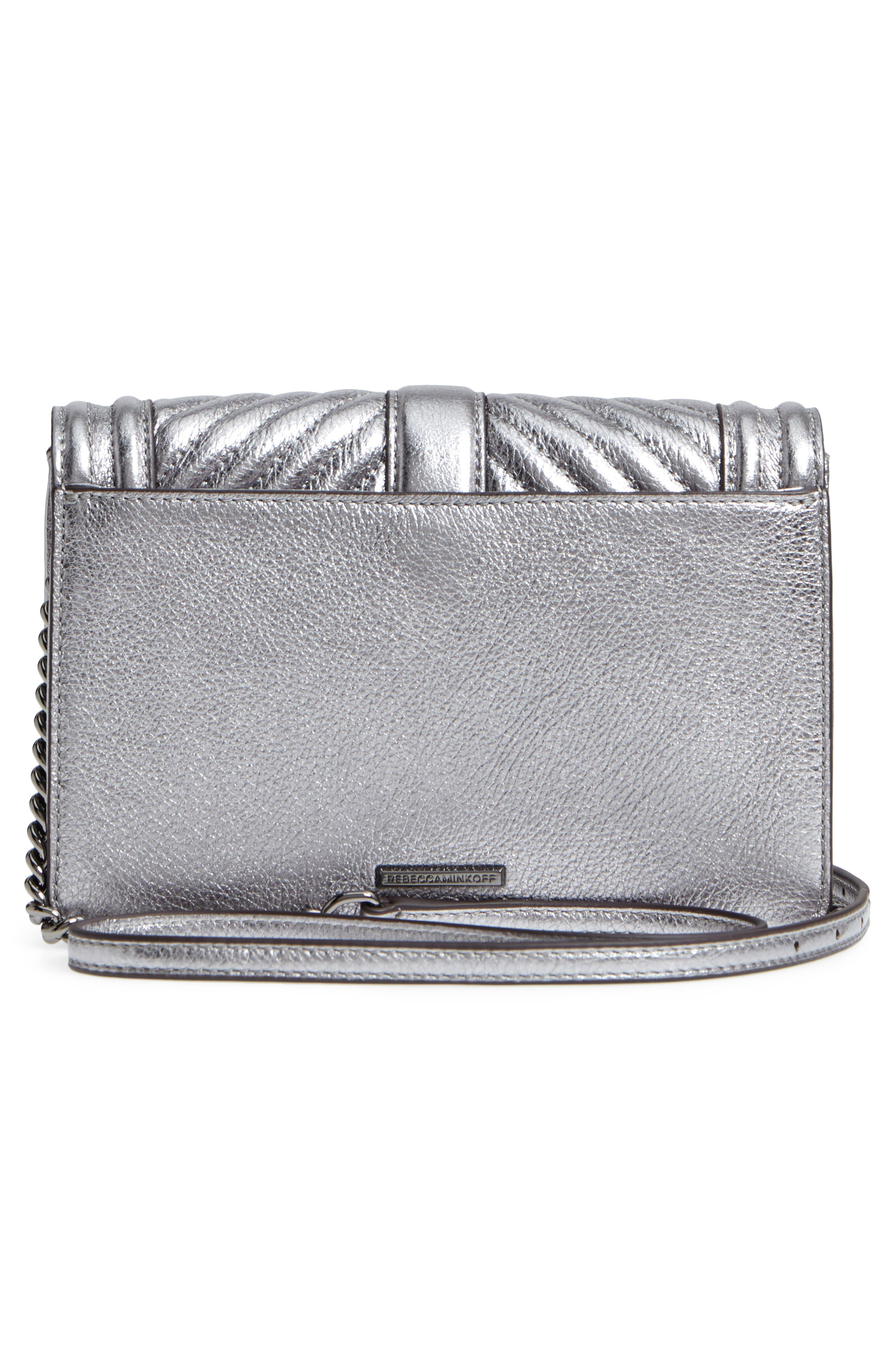 Small Love Metallic Leather Crossbody Bag,                             Alternate thumbnail 3, color,                             Anthracite