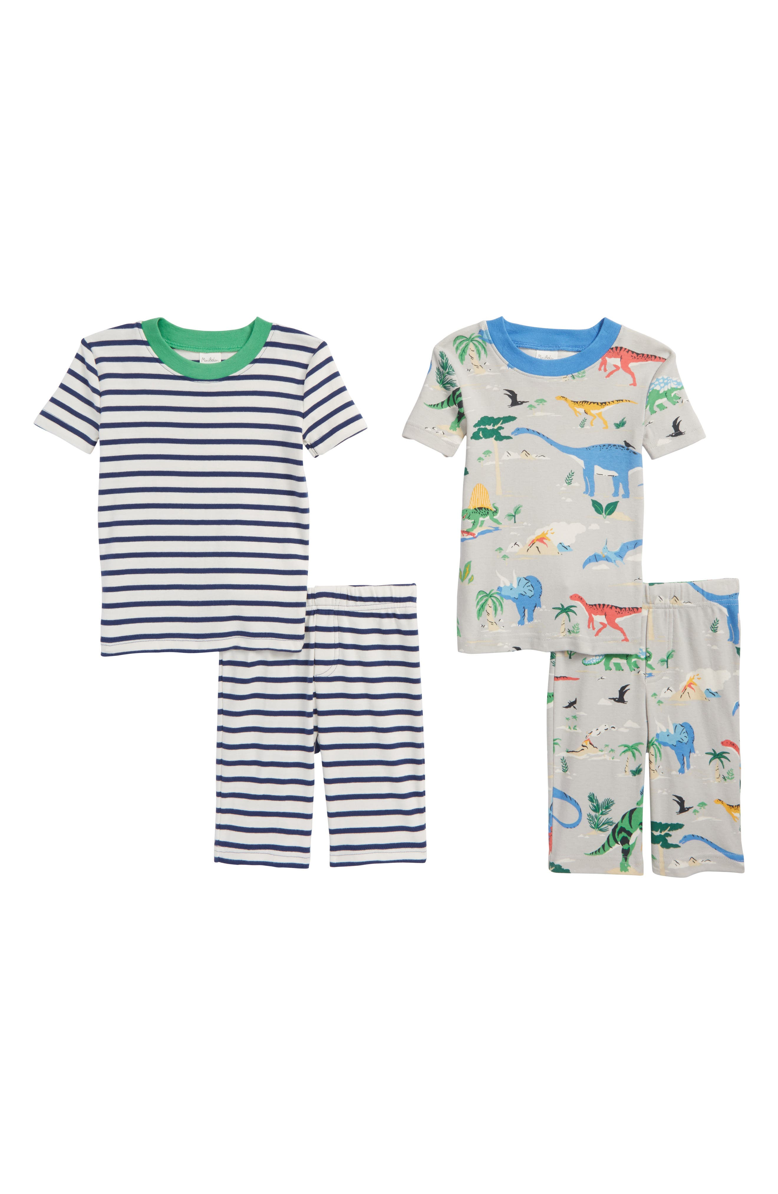 Short John 2-Pack Fitted Two-Piece Pajamas,                         Main,                         color, Shale Grey Scenic Dino