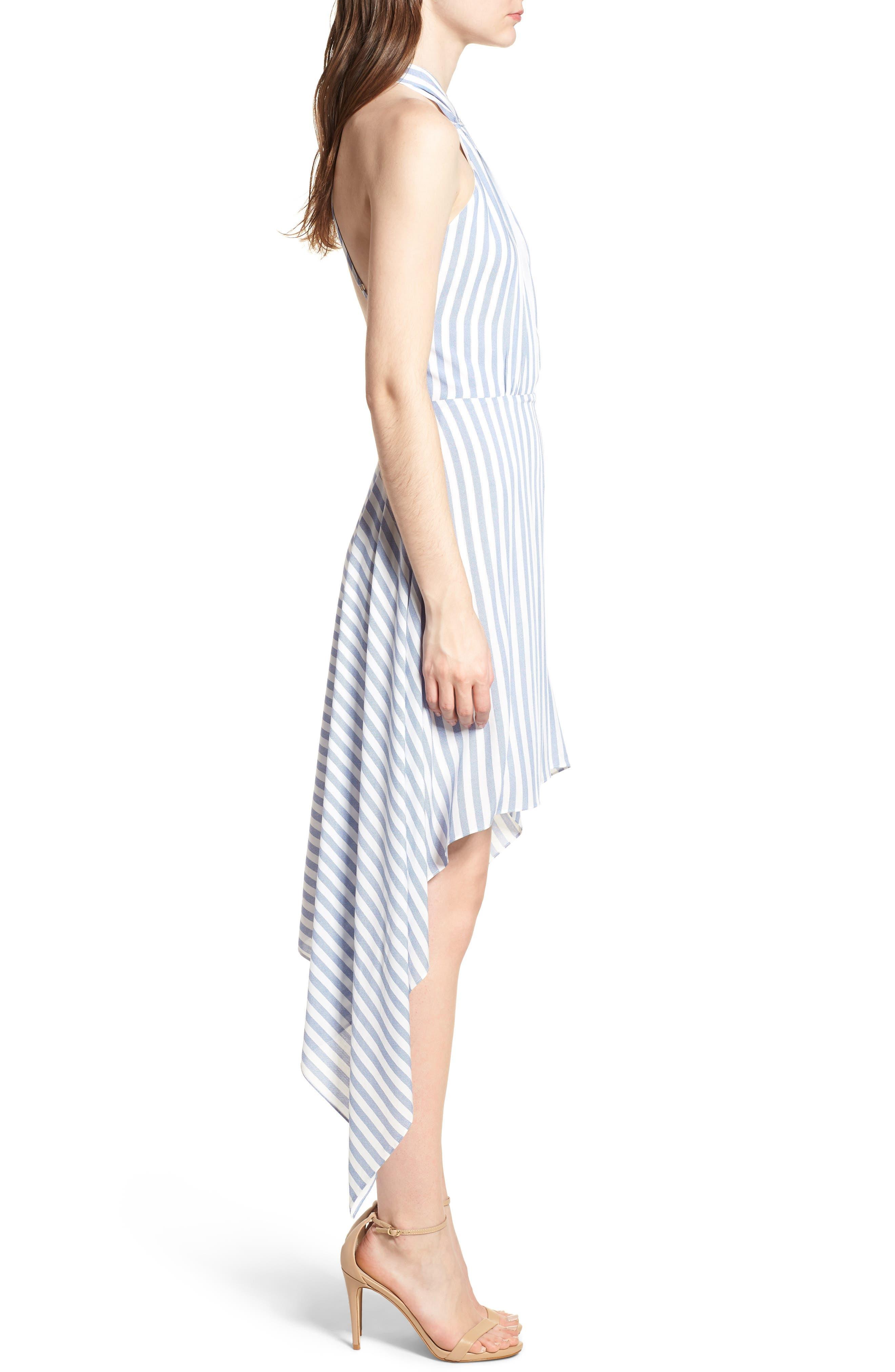 Bishop + Young Ana Stripe Shark Bite Hem Halter Dress,                             Alternate thumbnail 3, color,                             Blue White Stripe