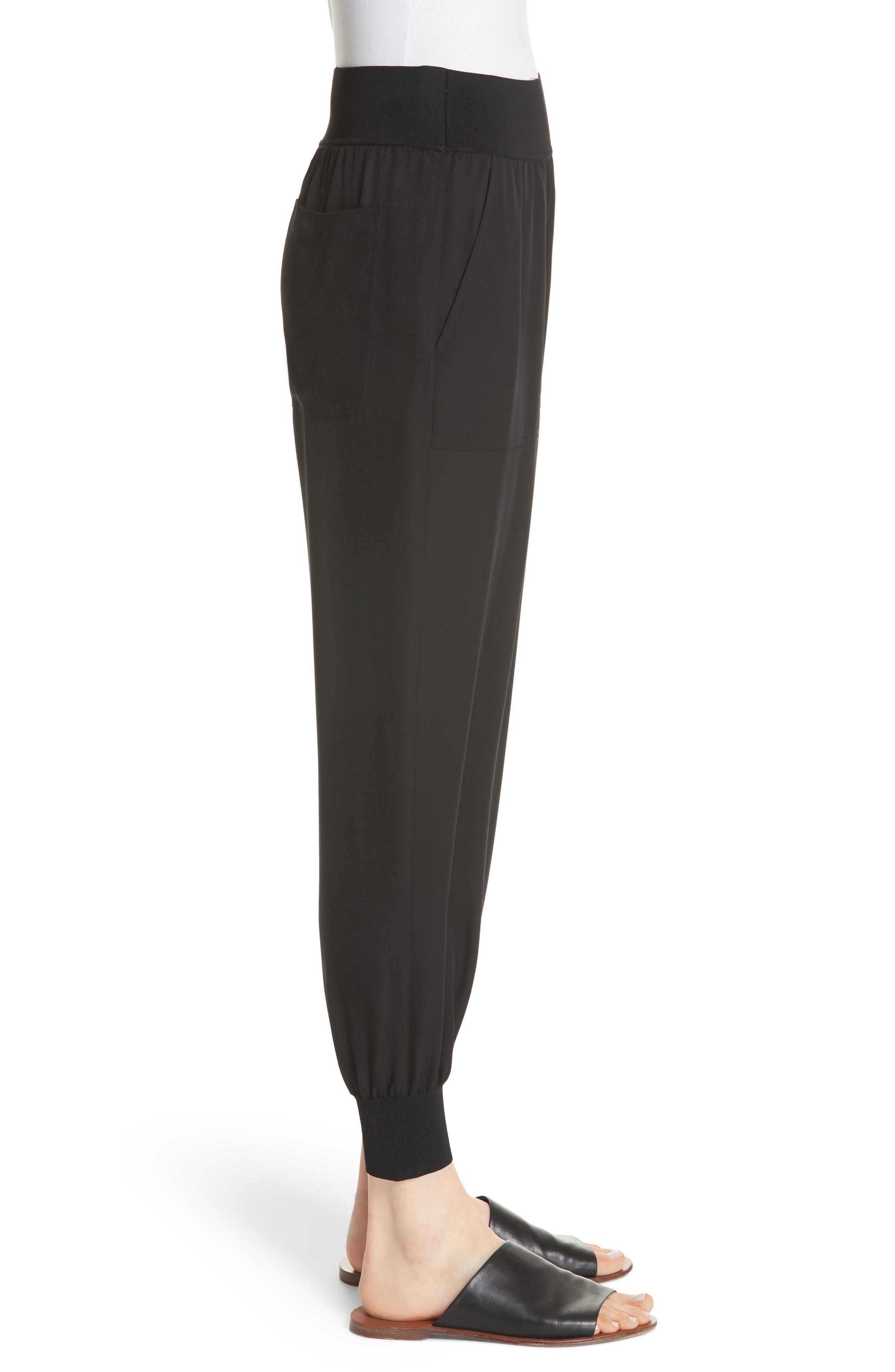 Silk Jogger Pants,                             Alternate thumbnail 3, color,                             Black