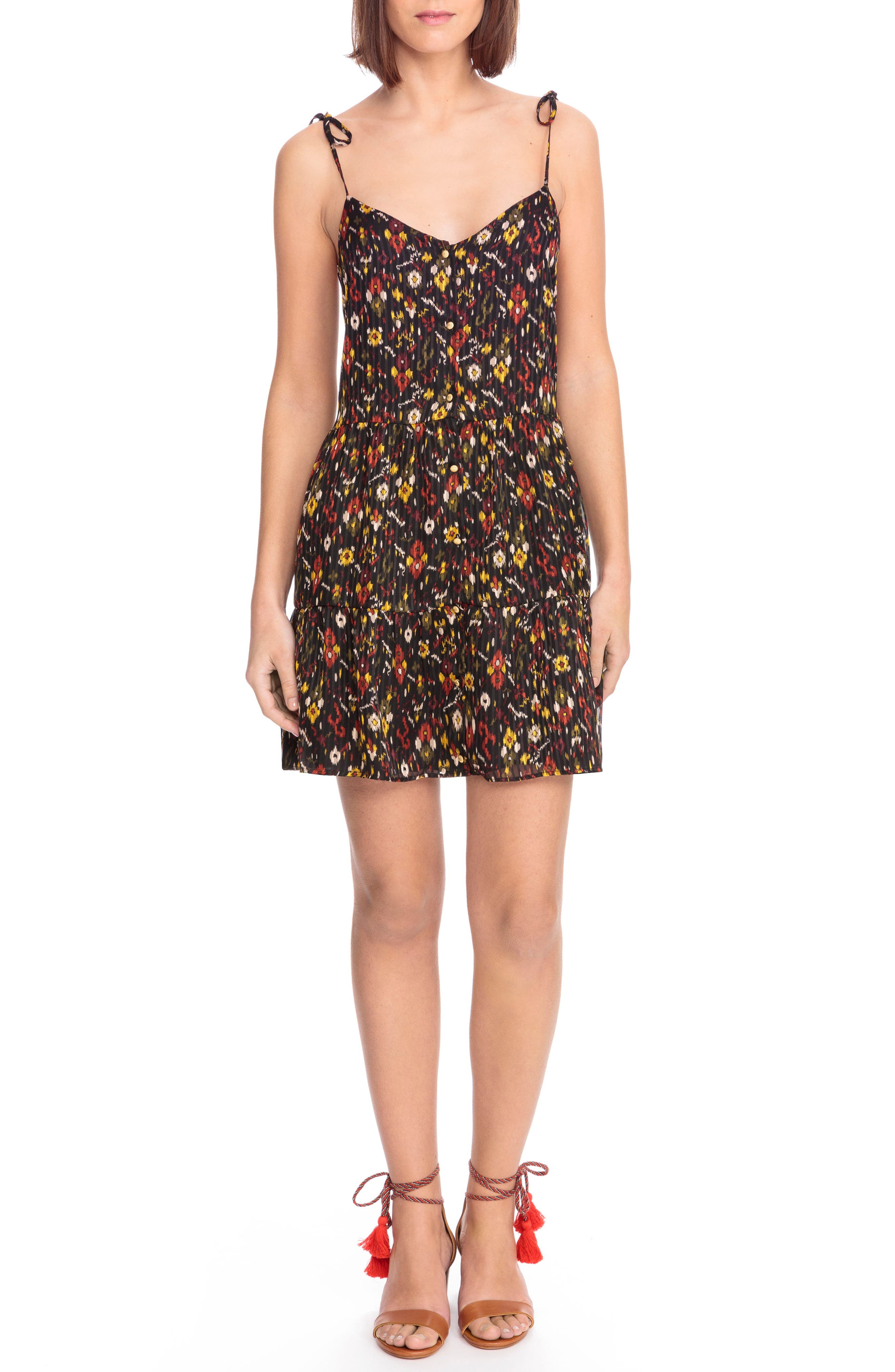 Felicie Floral Tie Strap Dress,                             Main thumbnail 1, color,                             Boho Print Red