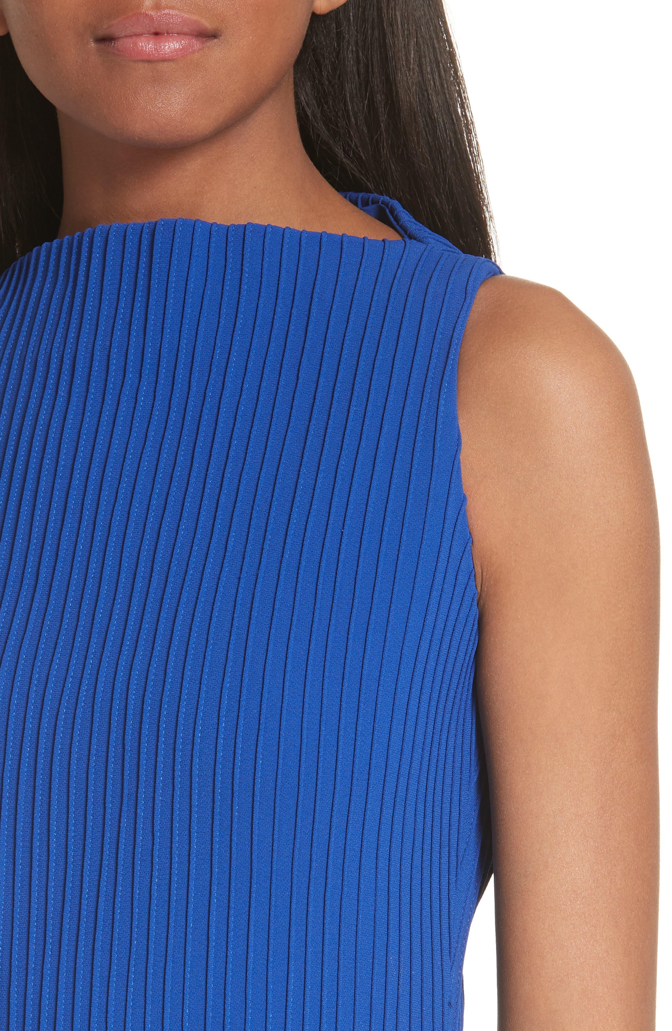 Pintuck Flare Hem Dress,                             Alternate thumbnail 4, color,                             Cobalt