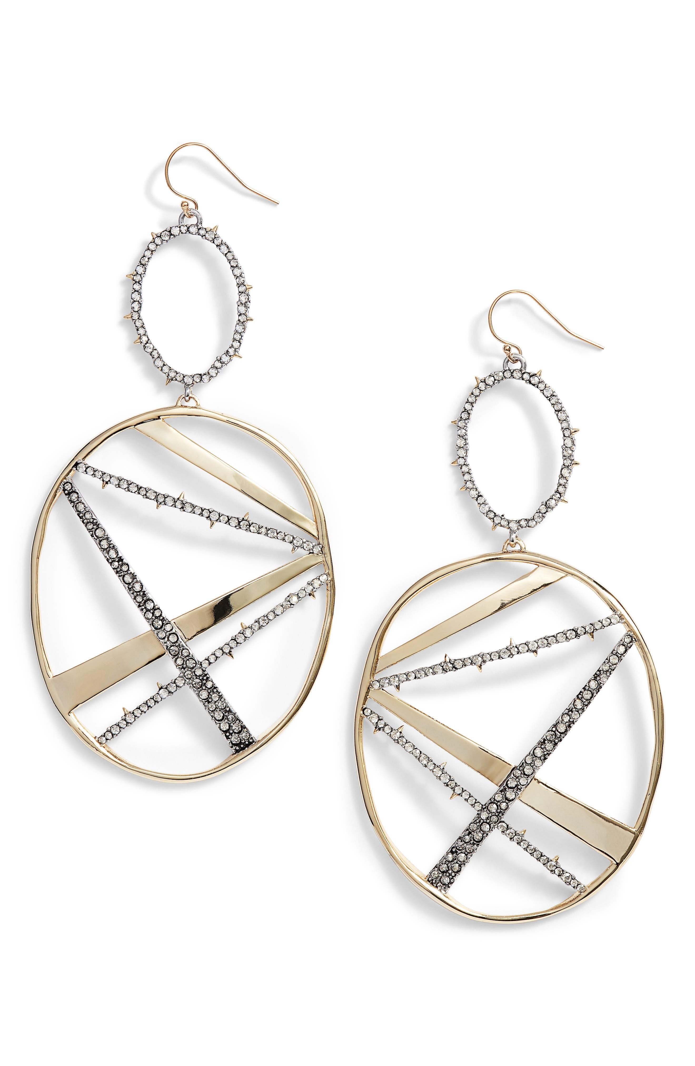 Oversize Dangling Hoop Earrings,                             Main thumbnail 1, color,                             Gold/ Silver
