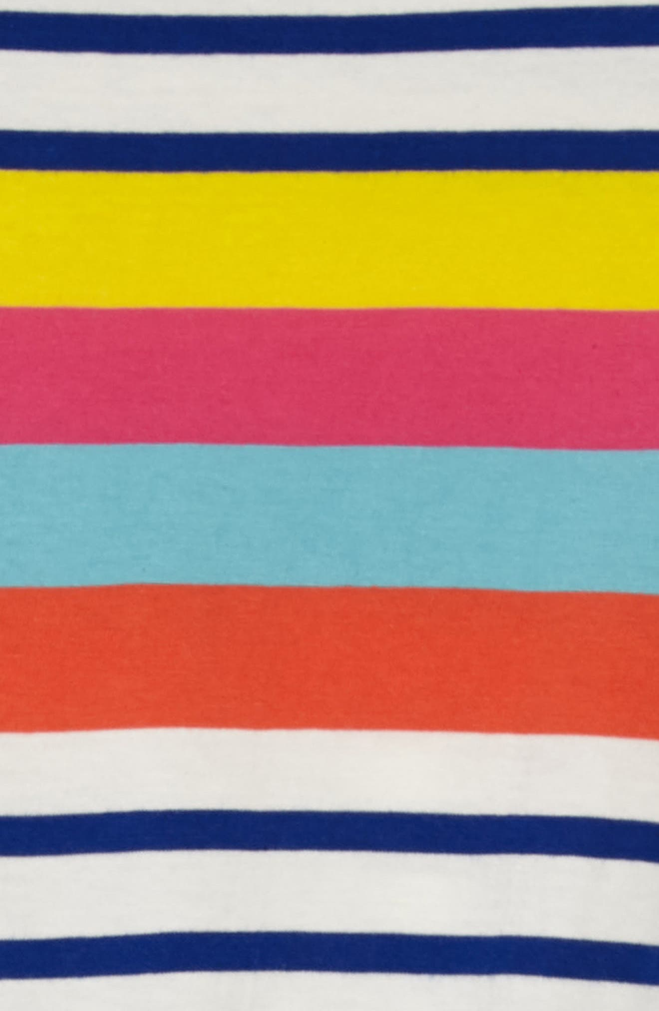Tie Waist Jersey Dress,                             Alternate thumbnail 3, color,                             Sunshine Yellow/ Pink Stripe