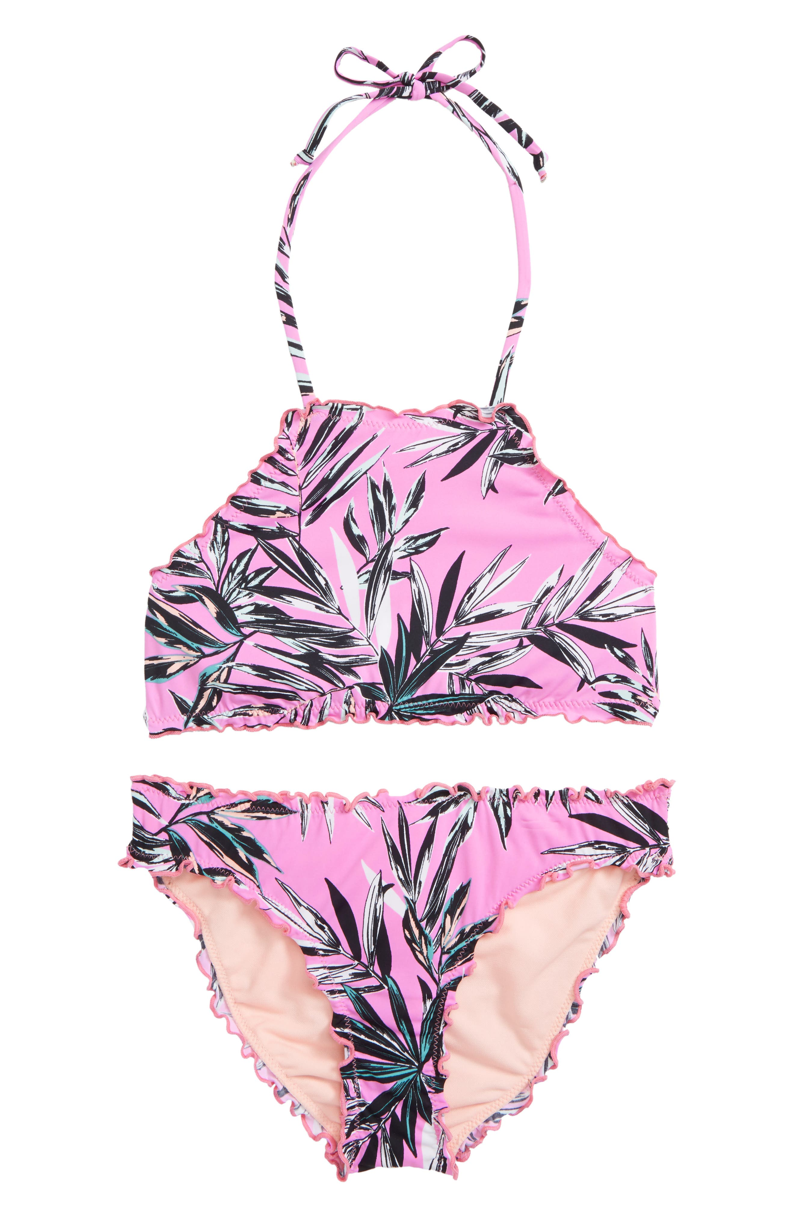 Shara Ruffle Two-Piece Swimsuit,                             Main thumbnail 1, color,                             Fuchsia
