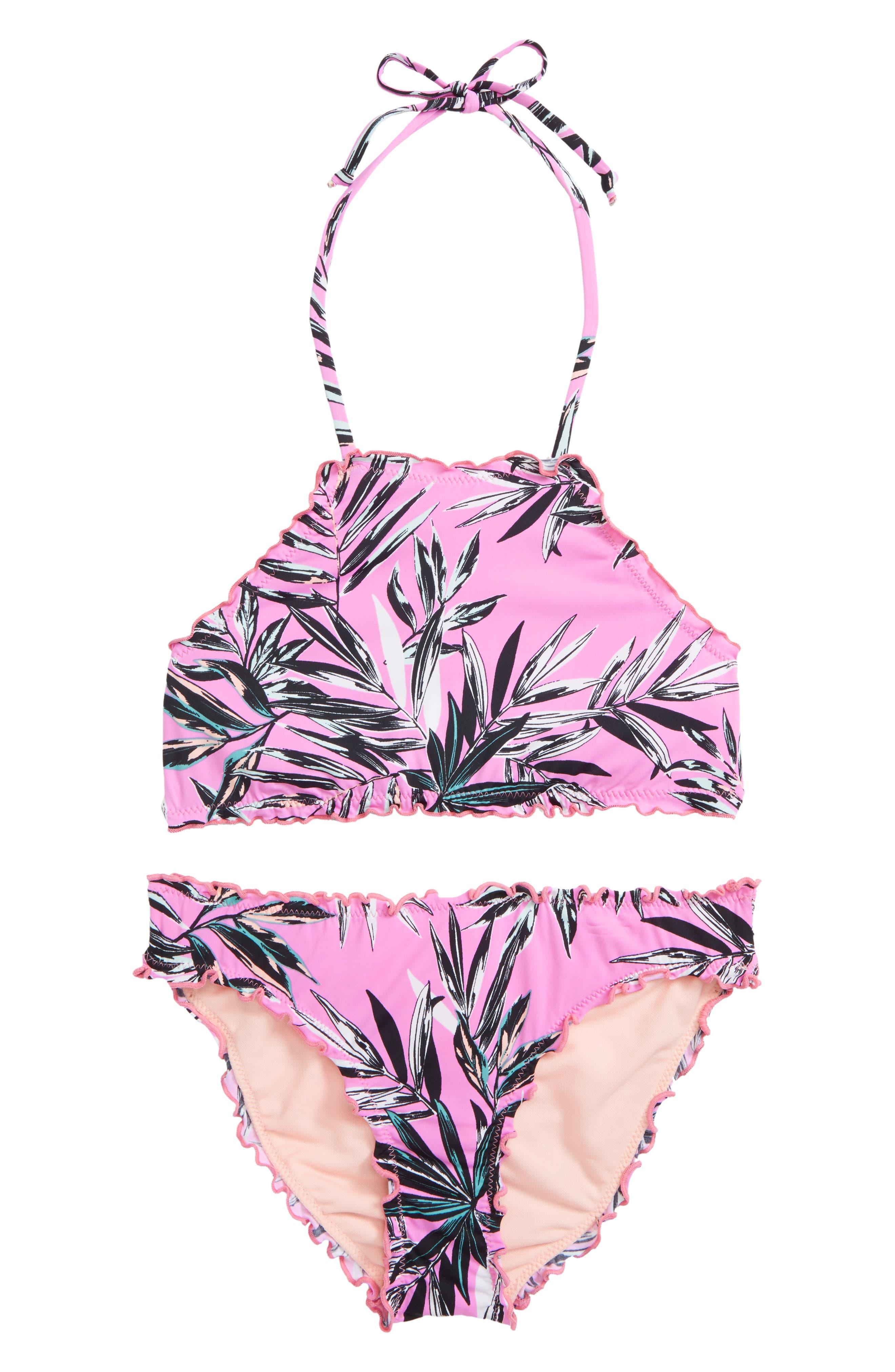 Shara Ruffle Two-Piece Swimsuit,                         Main,                         color, Fuchsia