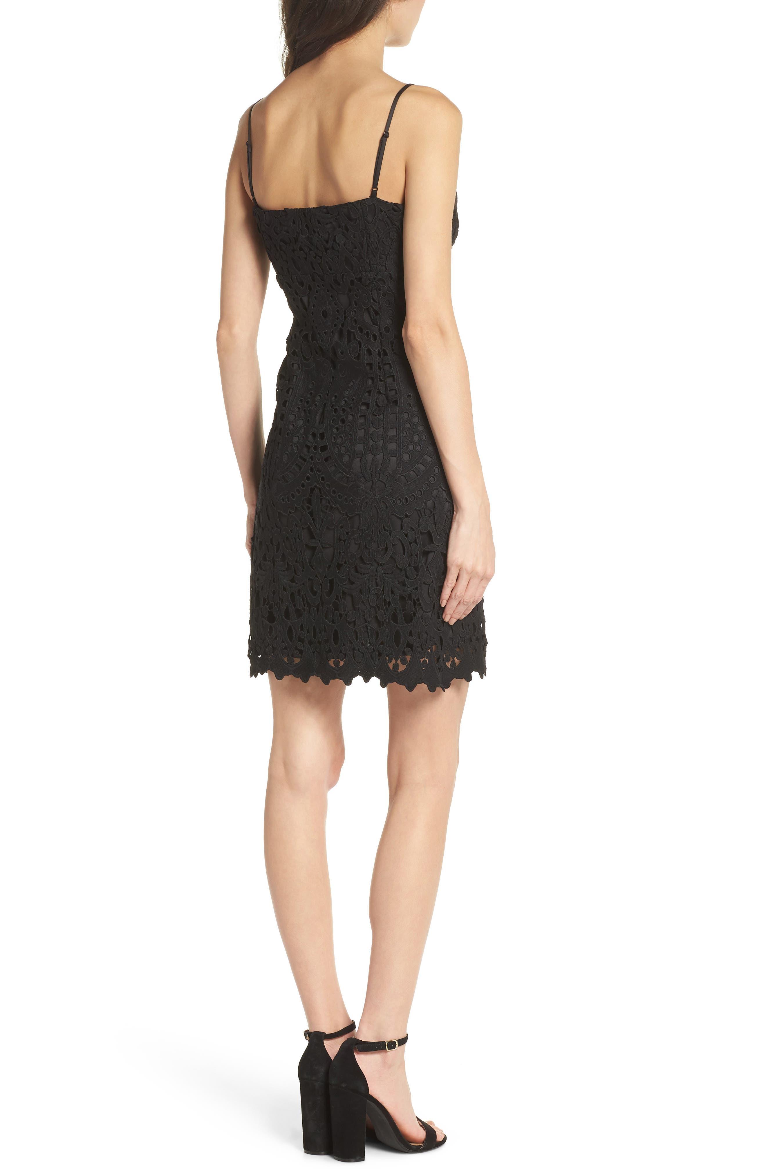 Natalie Crochet Lace Minidress,                             Alternate thumbnail 2, color,                             Black