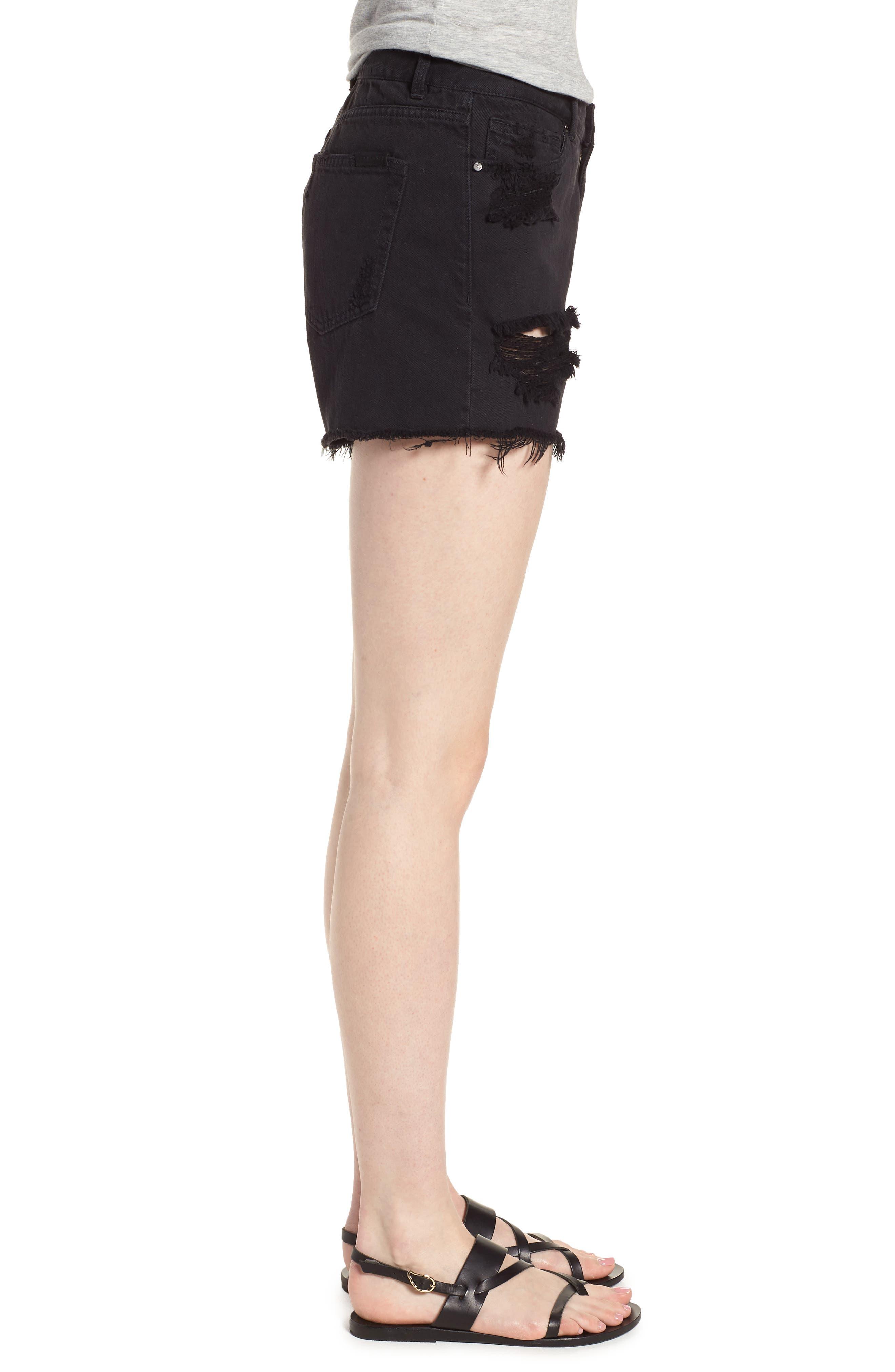 Black Midi Fray Shorts,                             Alternate thumbnail 3, color,                             Faded Black