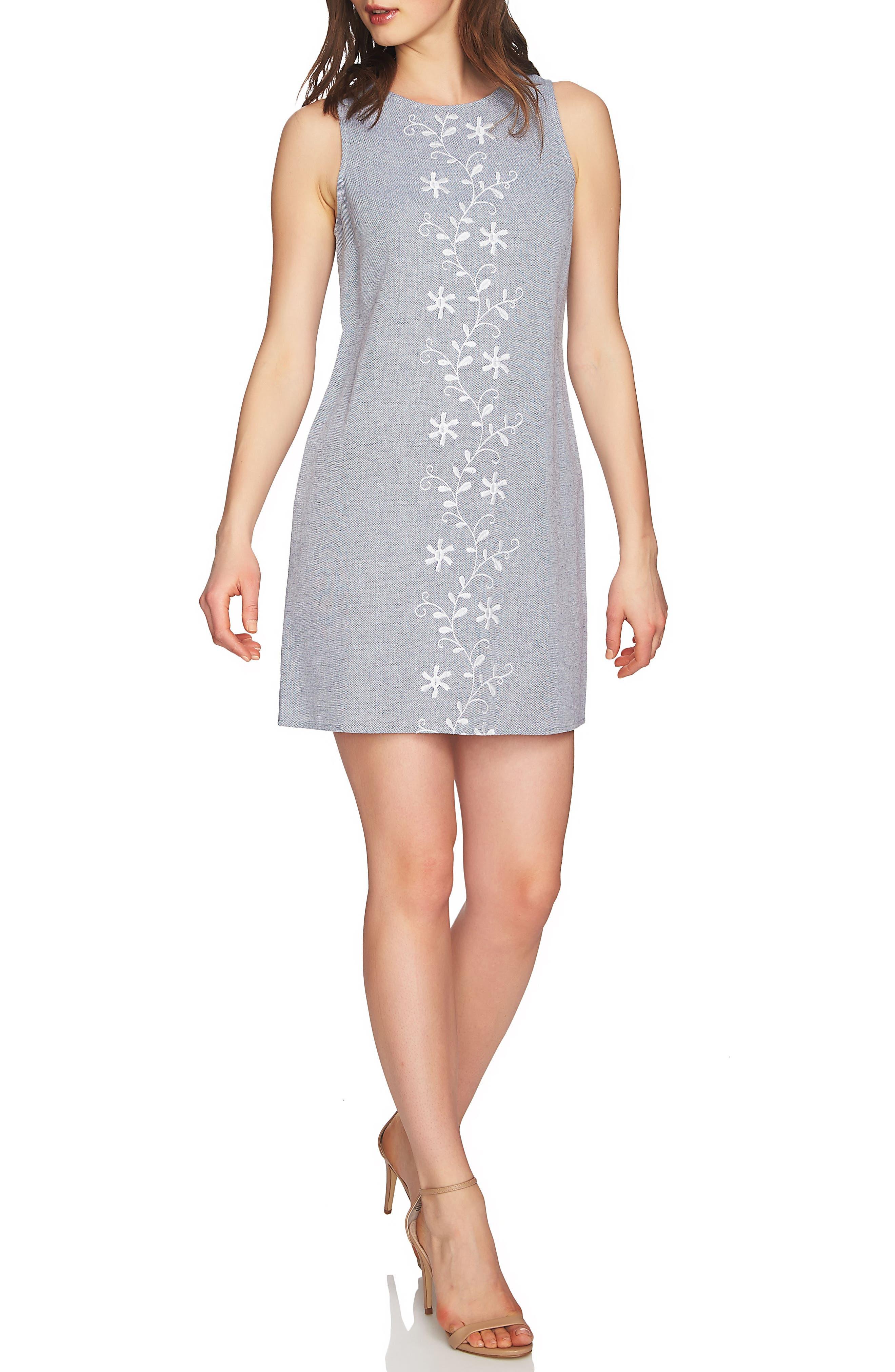 Arlington Sleeveless Embroidered Shift Dress,                         Main,                         color, Rainfall