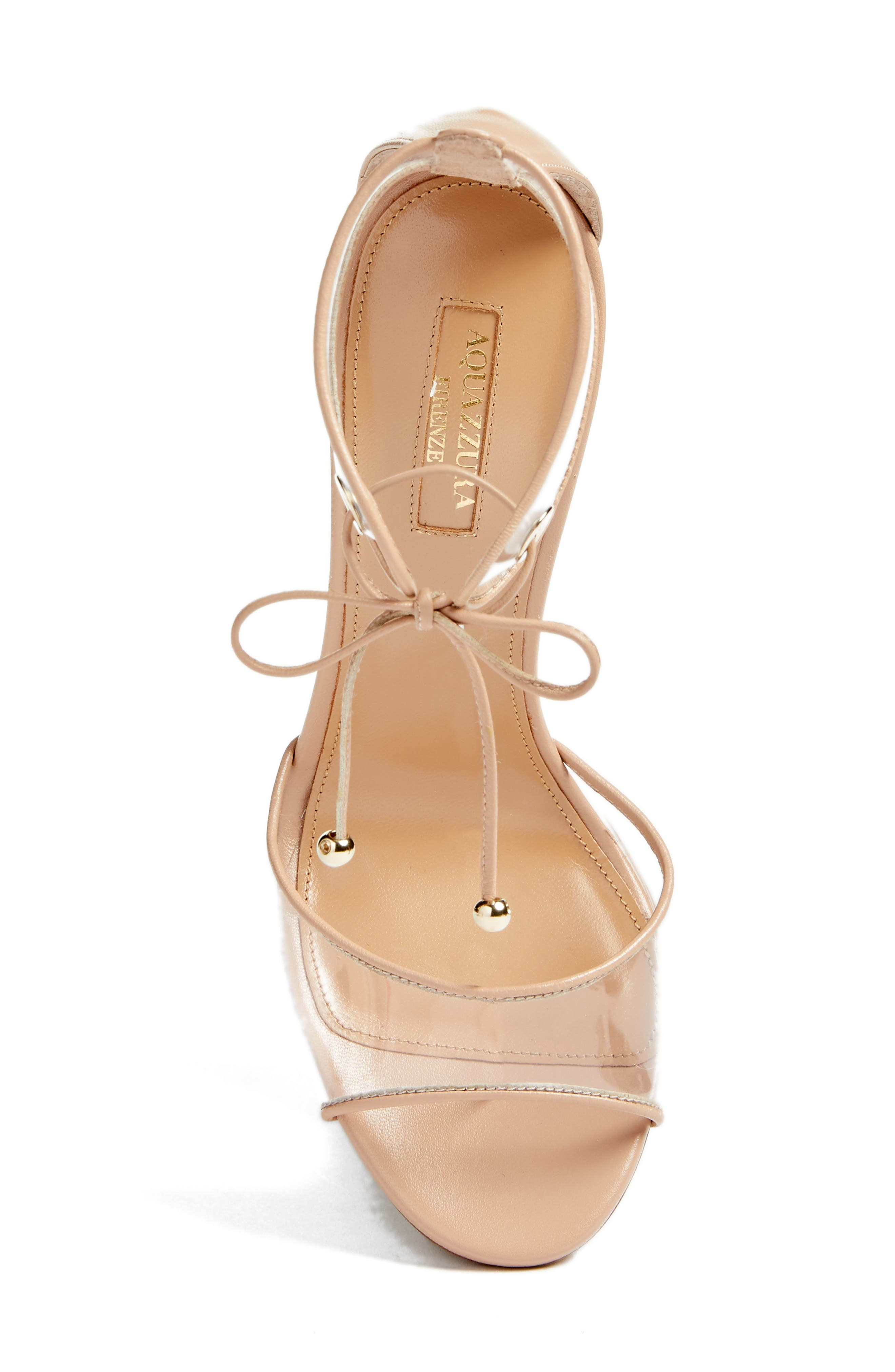 Optic Clear Ankle Tie Sandal,                             Alternate thumbnail 5, color,                             Powder Pink