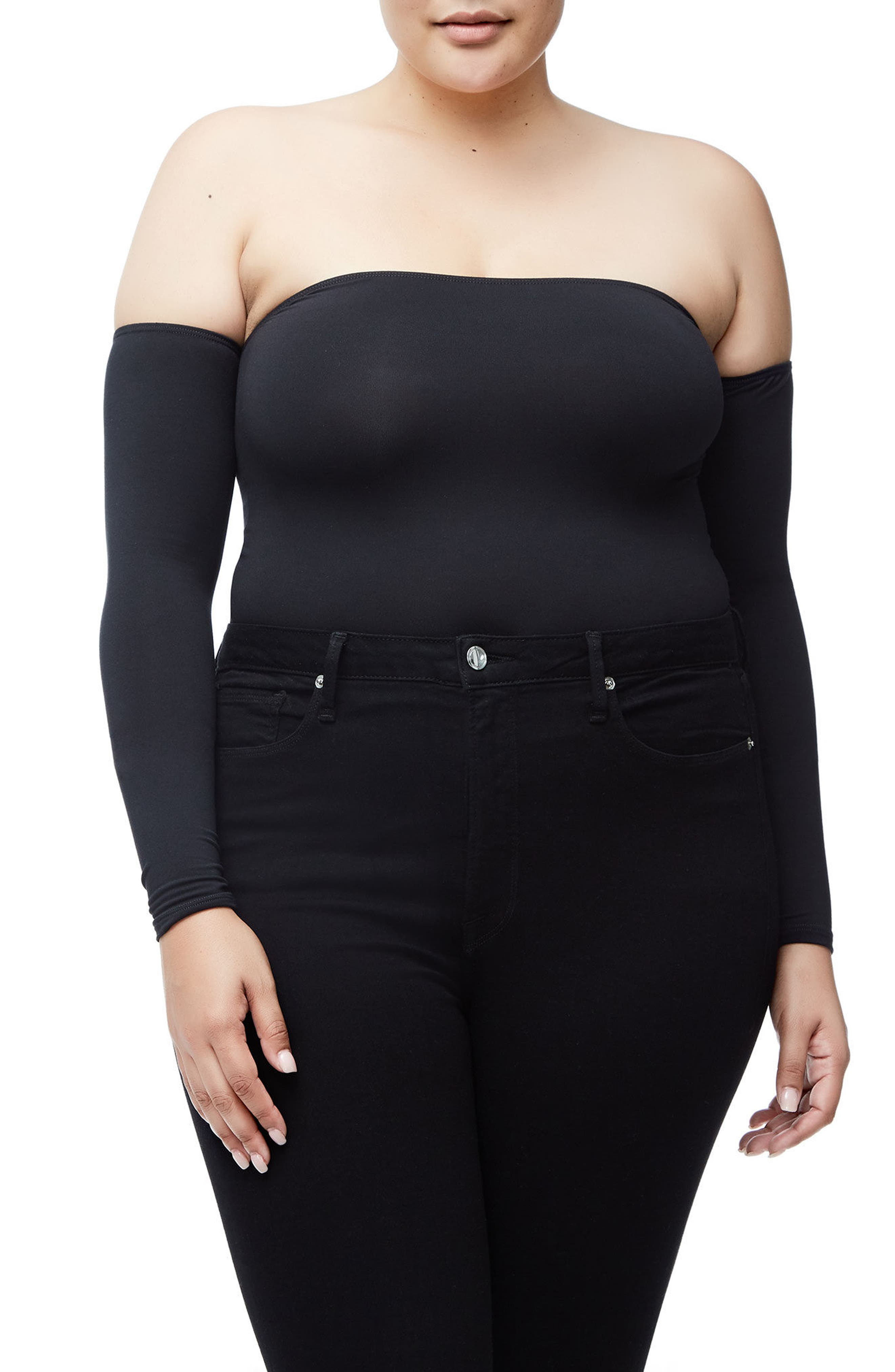 Good Body Sporty Off the Shoulder Thong Bodysuit,                             Alternate thumbnail 5, color,                             Black001