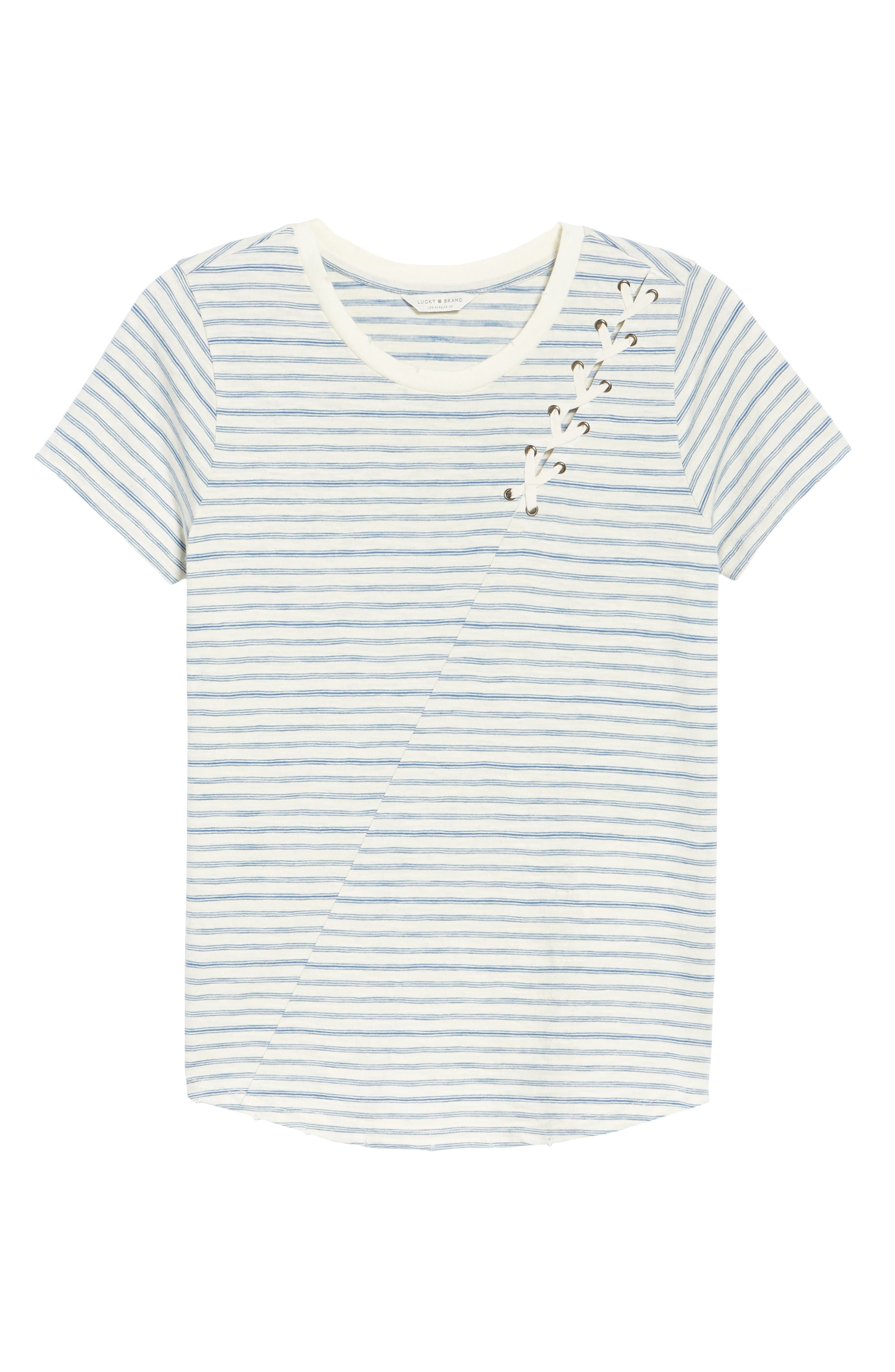 Lace-Up Shoulder Stripe Tee,                             Alternate thumbnail 7, color,                             Blue Multi