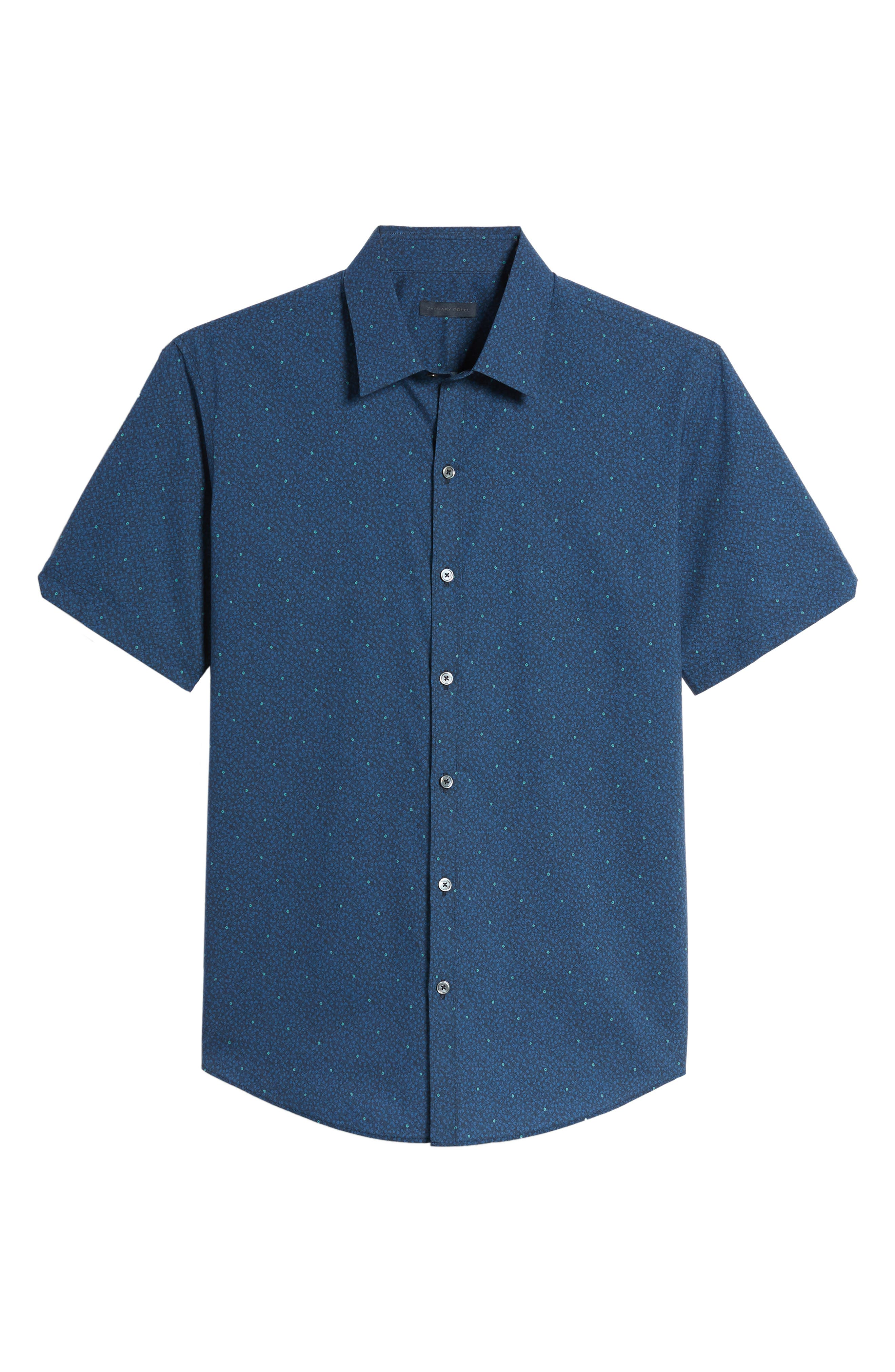 Wichert Trim Fit Floral Print Sport Shirt,                             Alternate thumbnail 6, color,                             Dark Blue