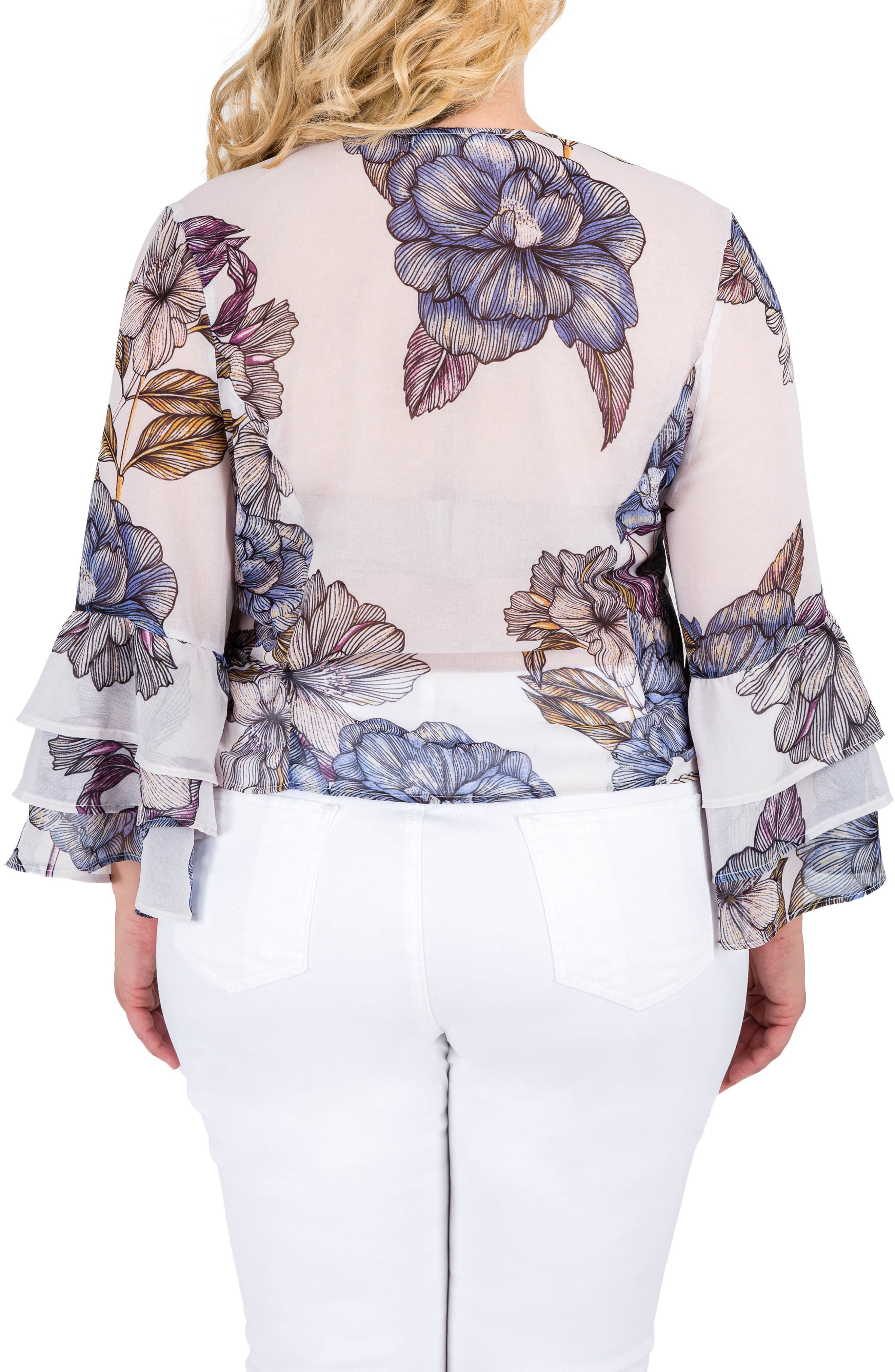 Miley Bell Sleeve Floral Wrap Top,                             Alternate thumbnail 2, color,                             Light Gray Floral Print