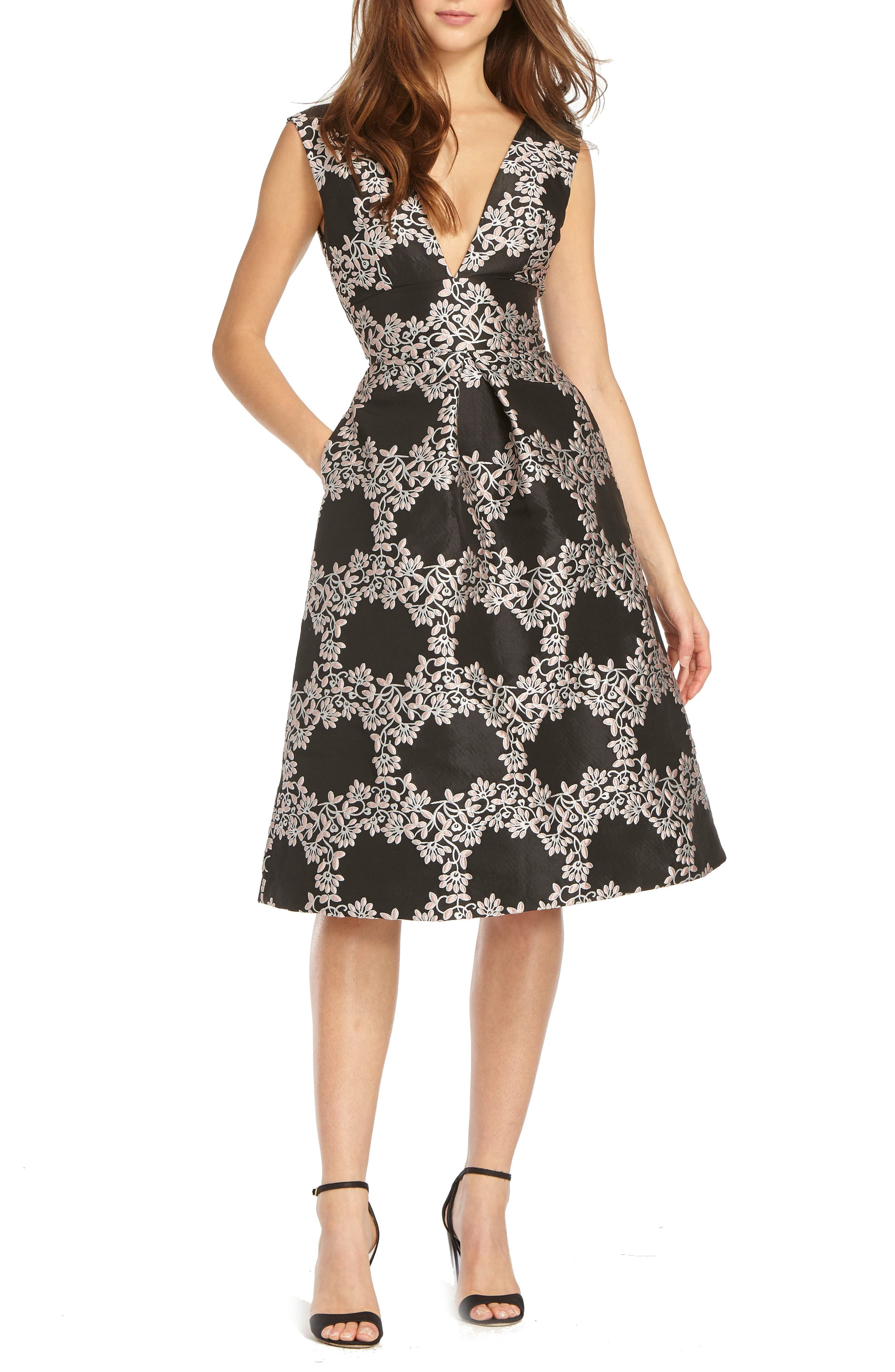 Jacquard Fit & Flare Cocktail Dress,                             Main thumbnail 1, color,                             Black Rose