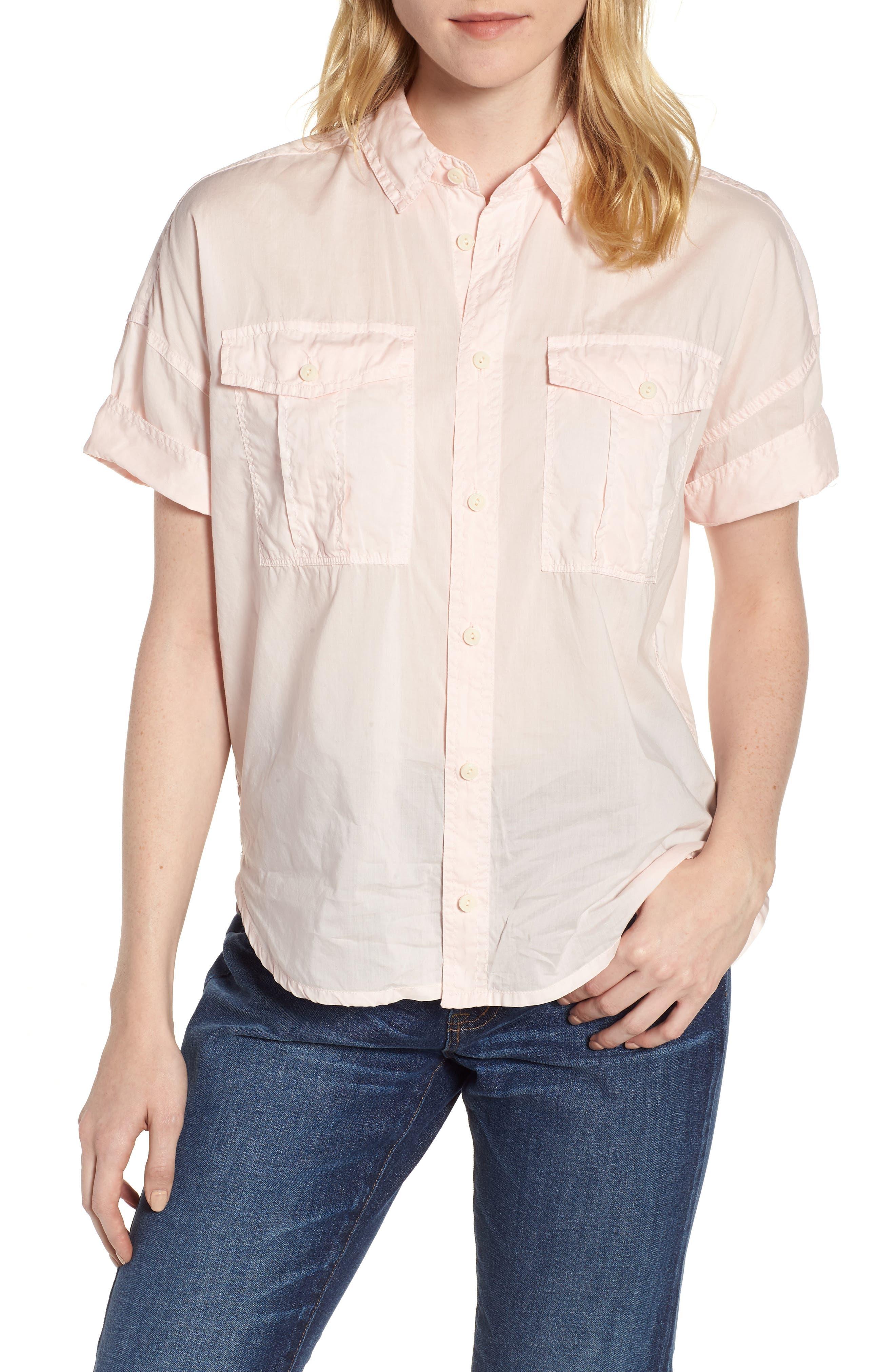 J.Crew Utility Pocket Shirt,                             Main thumbnail 1, color,                             Pastel Pink