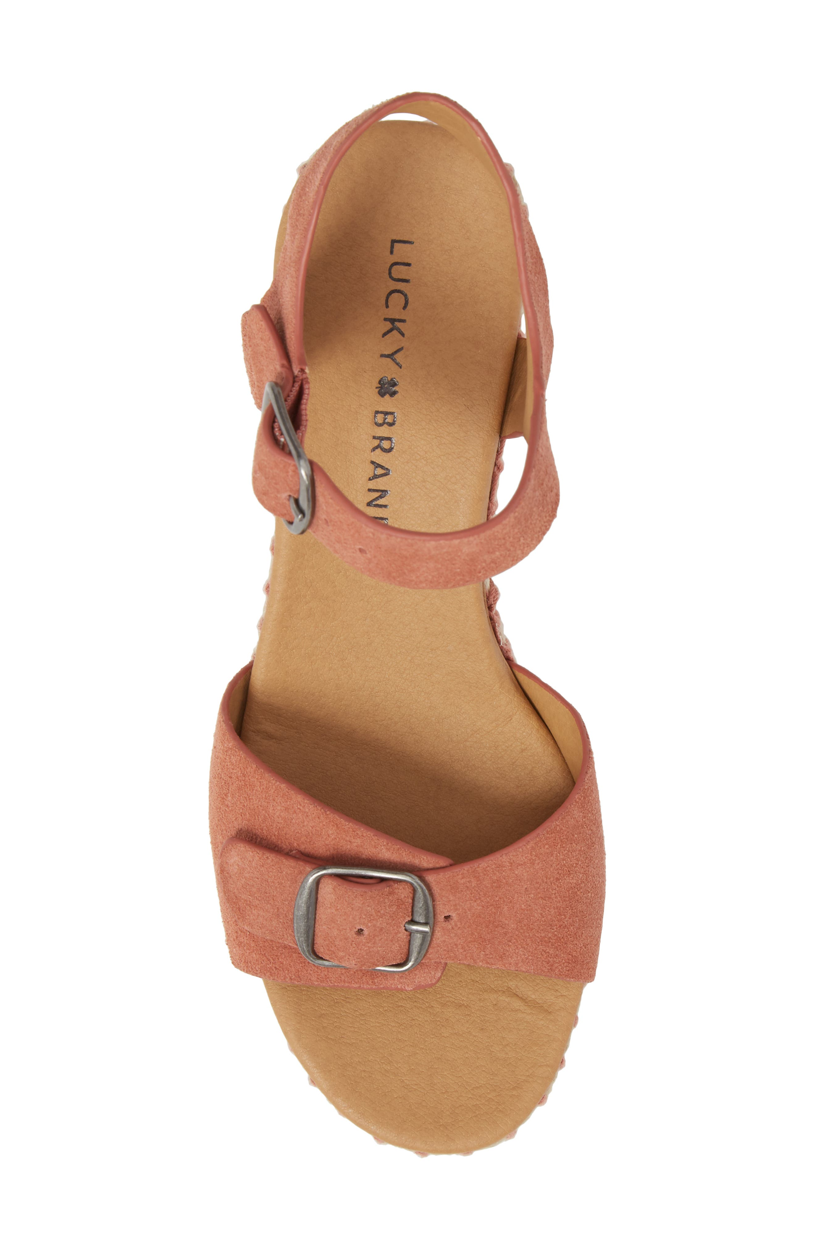 Naveah III Espadrille Wedge Sandal,                             Alternate thumbnail 5, color,                             Canyon Rose Suede