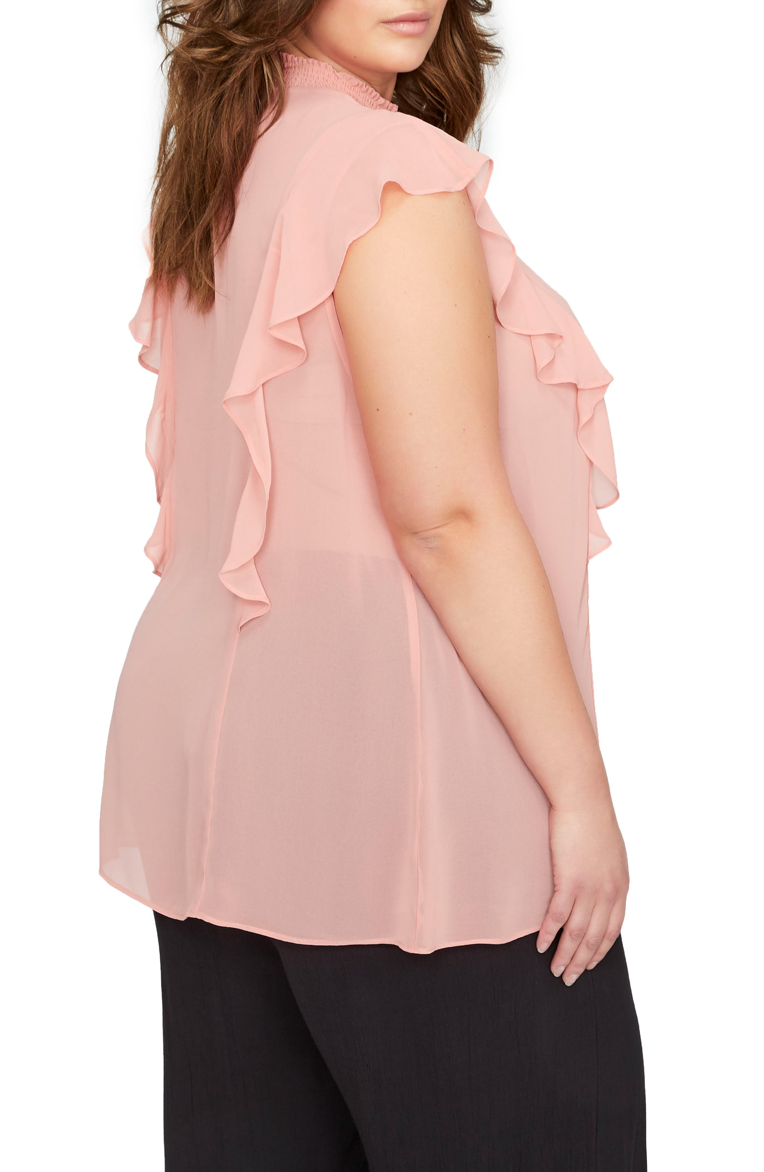 Ruffle Smocked Neck Top,                             Alternate thumbnail 2, color,                             Canyon Rose