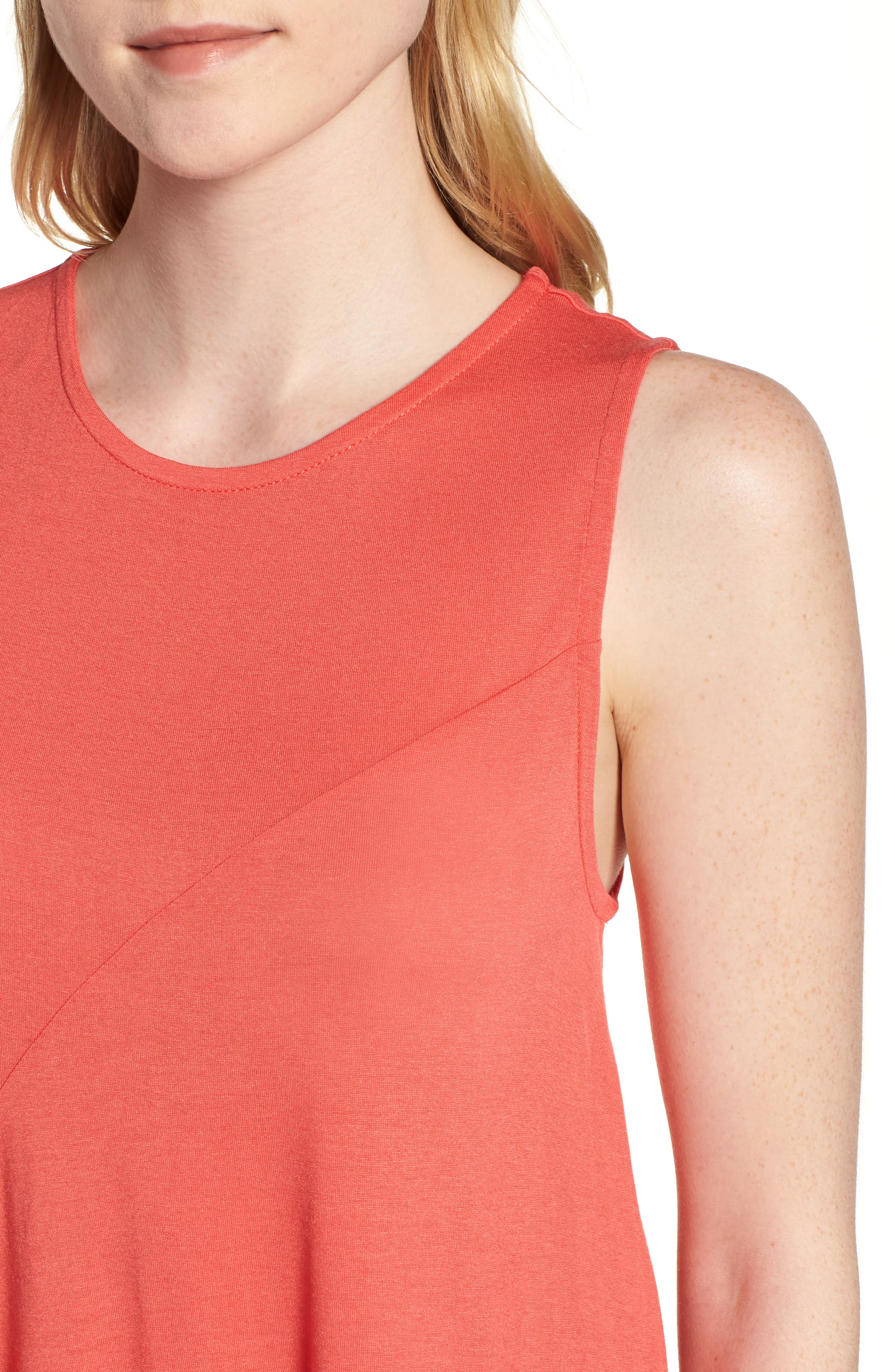 J.Crew Pleated Swing Tank Top,                             Alternate thumbnail 4, color,                             Coral