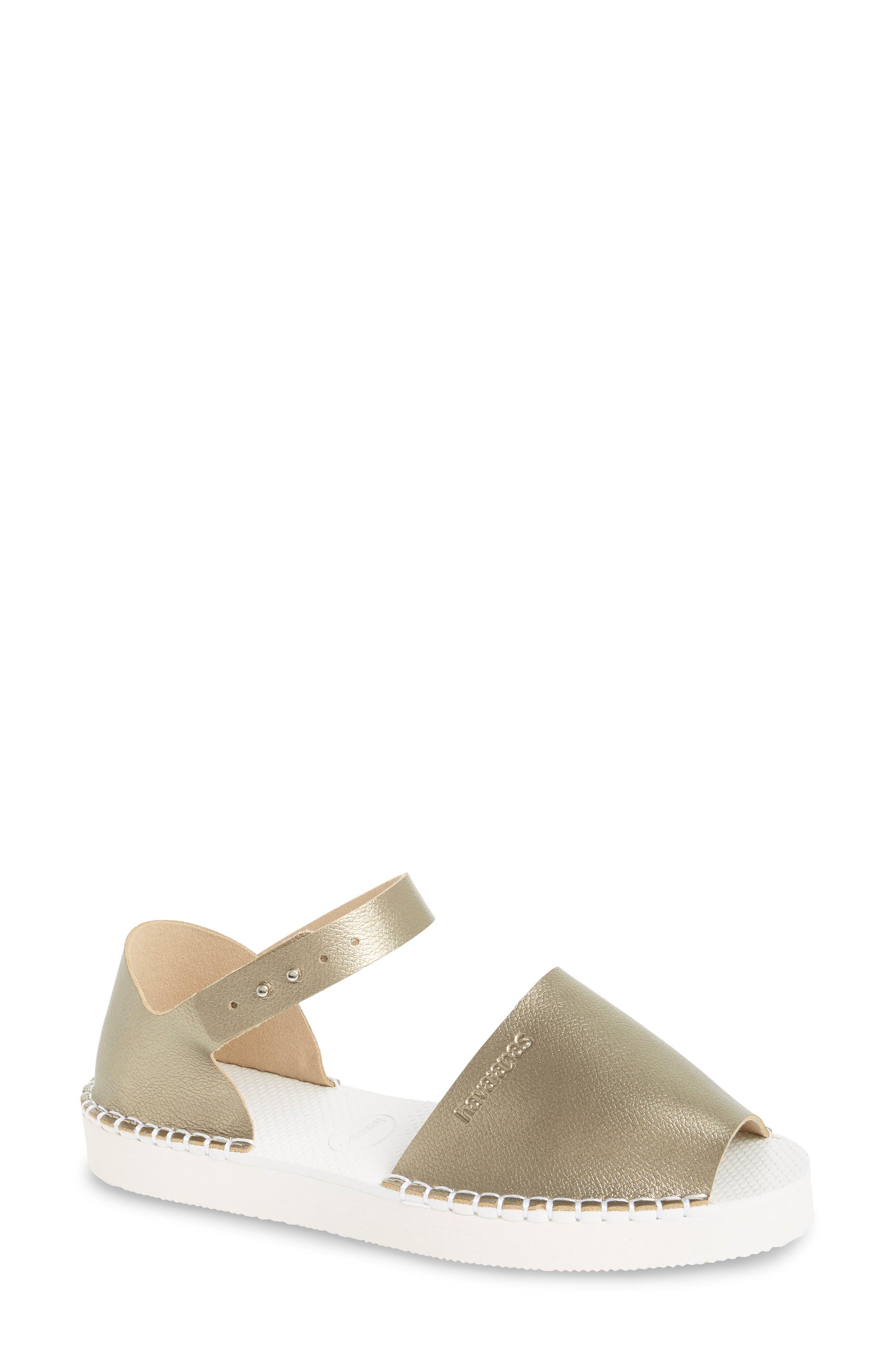 Flatform Fashion Sandal,                             Main thumbnail 1, color,                             Golden