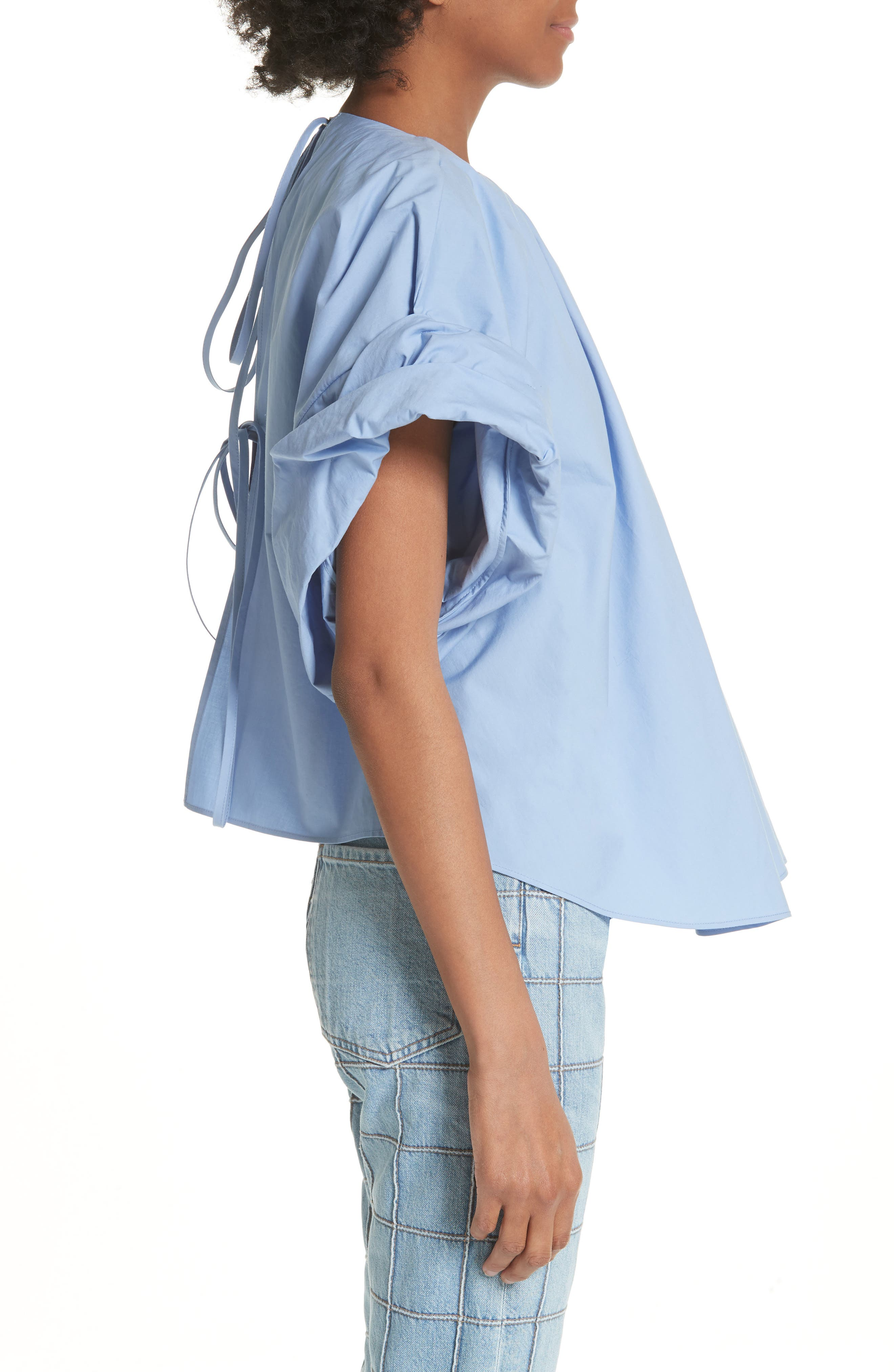Wide Sleeve Top,                             Alternate thumbnail 3, color,                             Blue