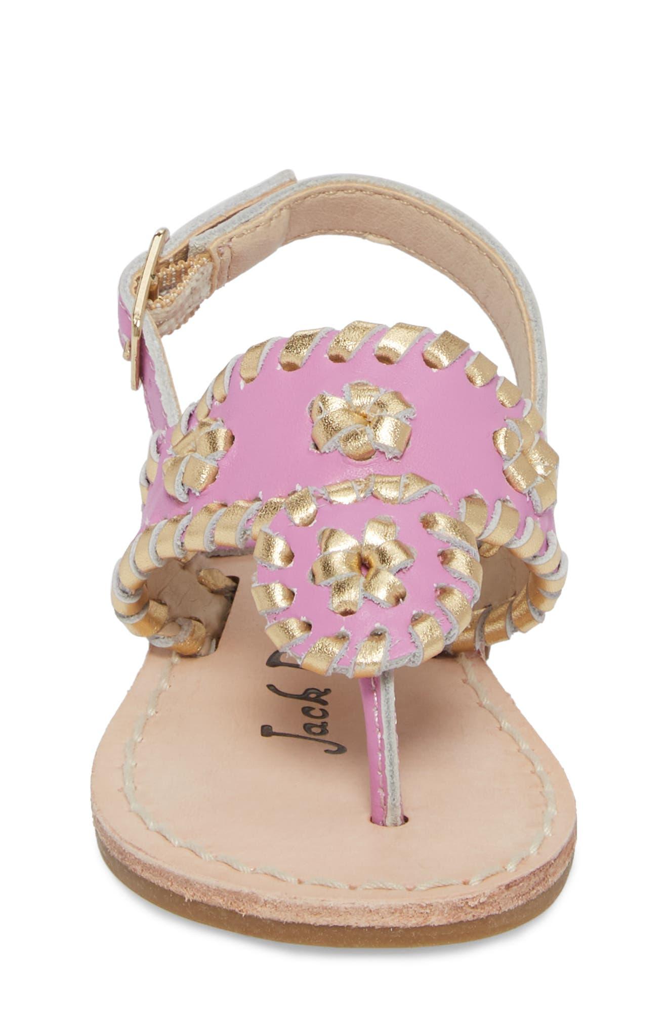 Little Miss Hollis Metallic Trim Sandal,                             Alternate thumbnail 4, color,                             Lavender Pink/ Gold Leather