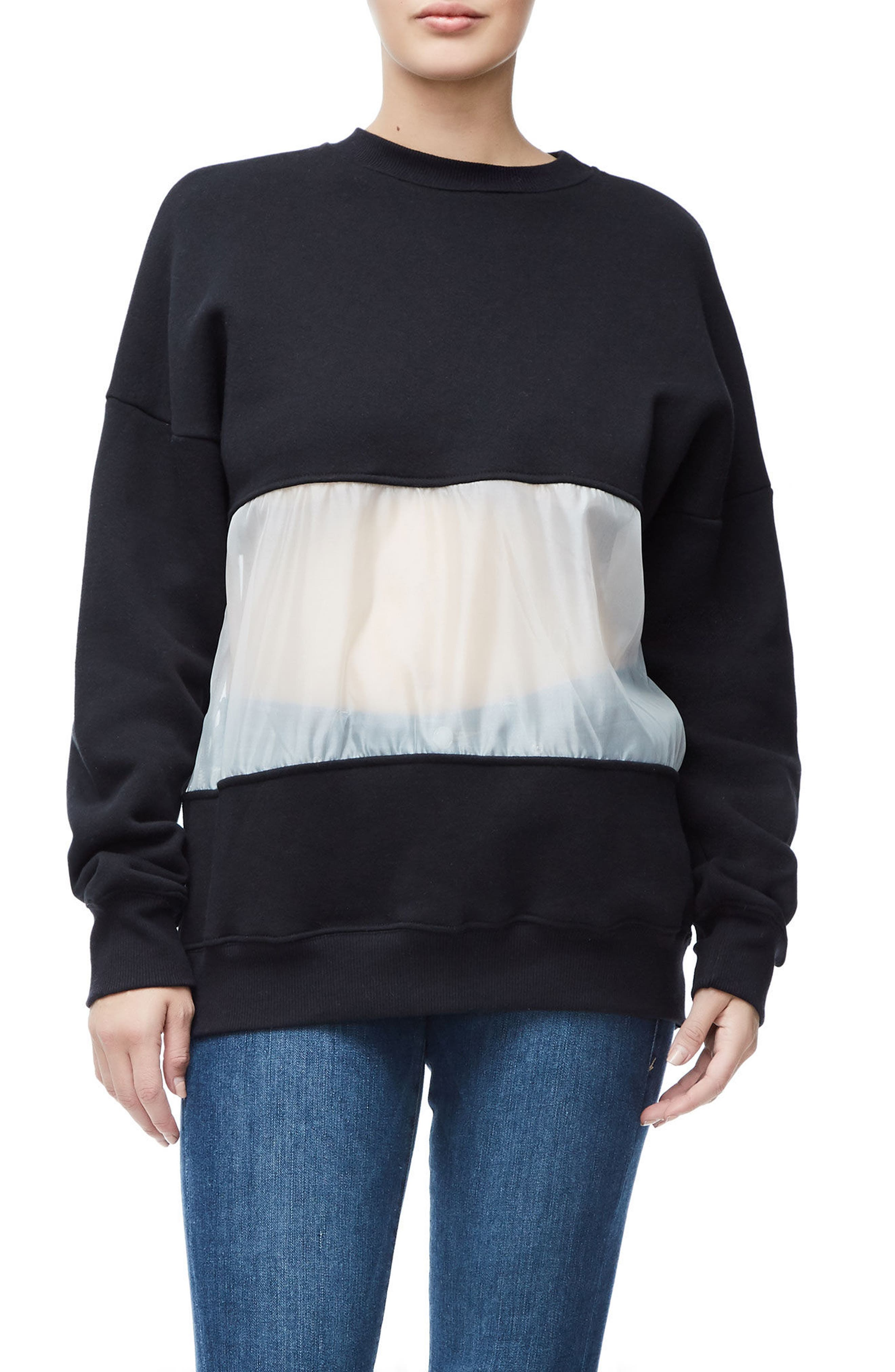 Mixed Media Oversize Sweatshirt,                             Main thumbnail 1, color,                             Black001
