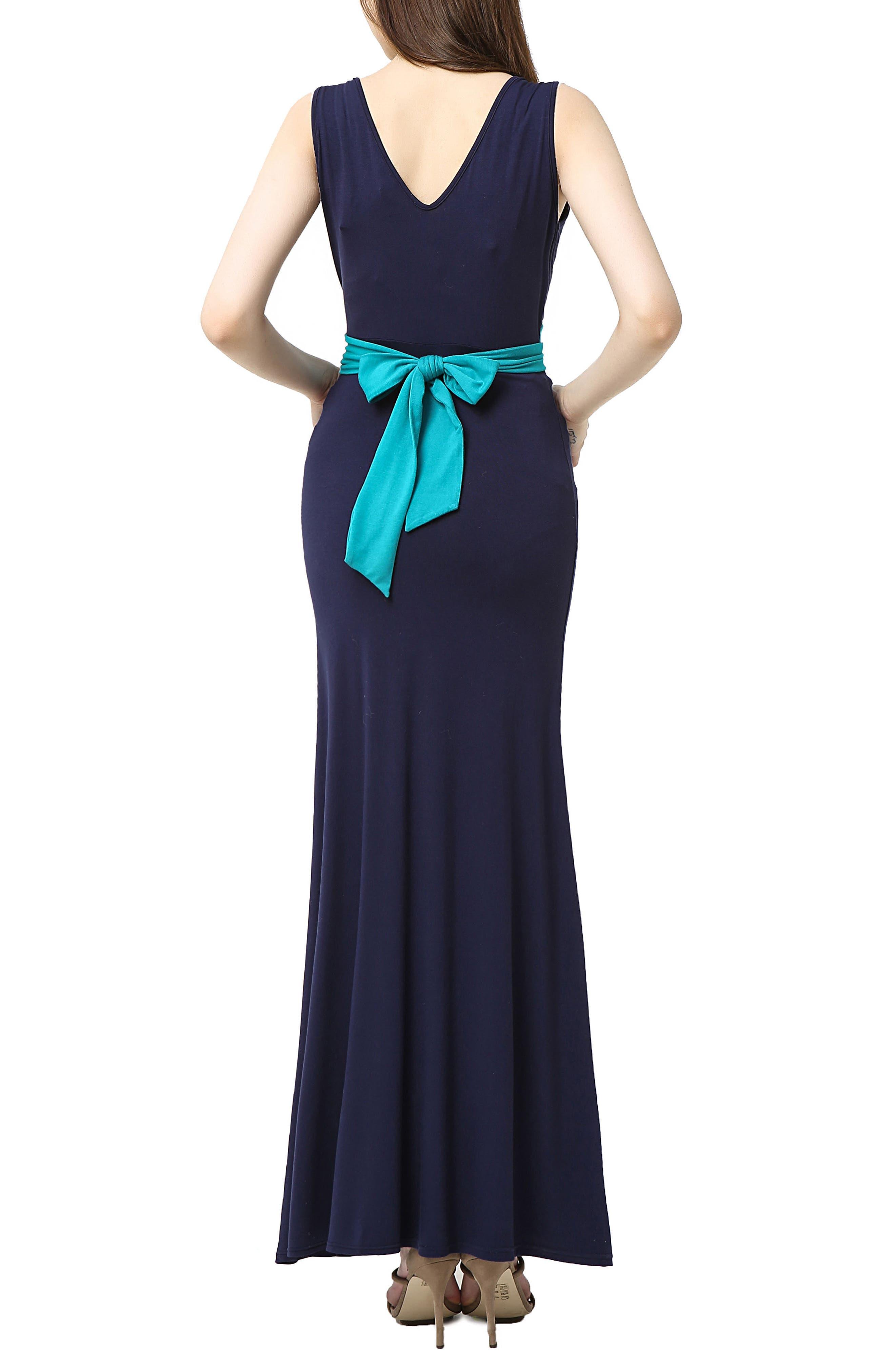 Scarlett Maternity Maxi Dress,                             Alternate thumbnail 2, color,                             Navy/ Teal
