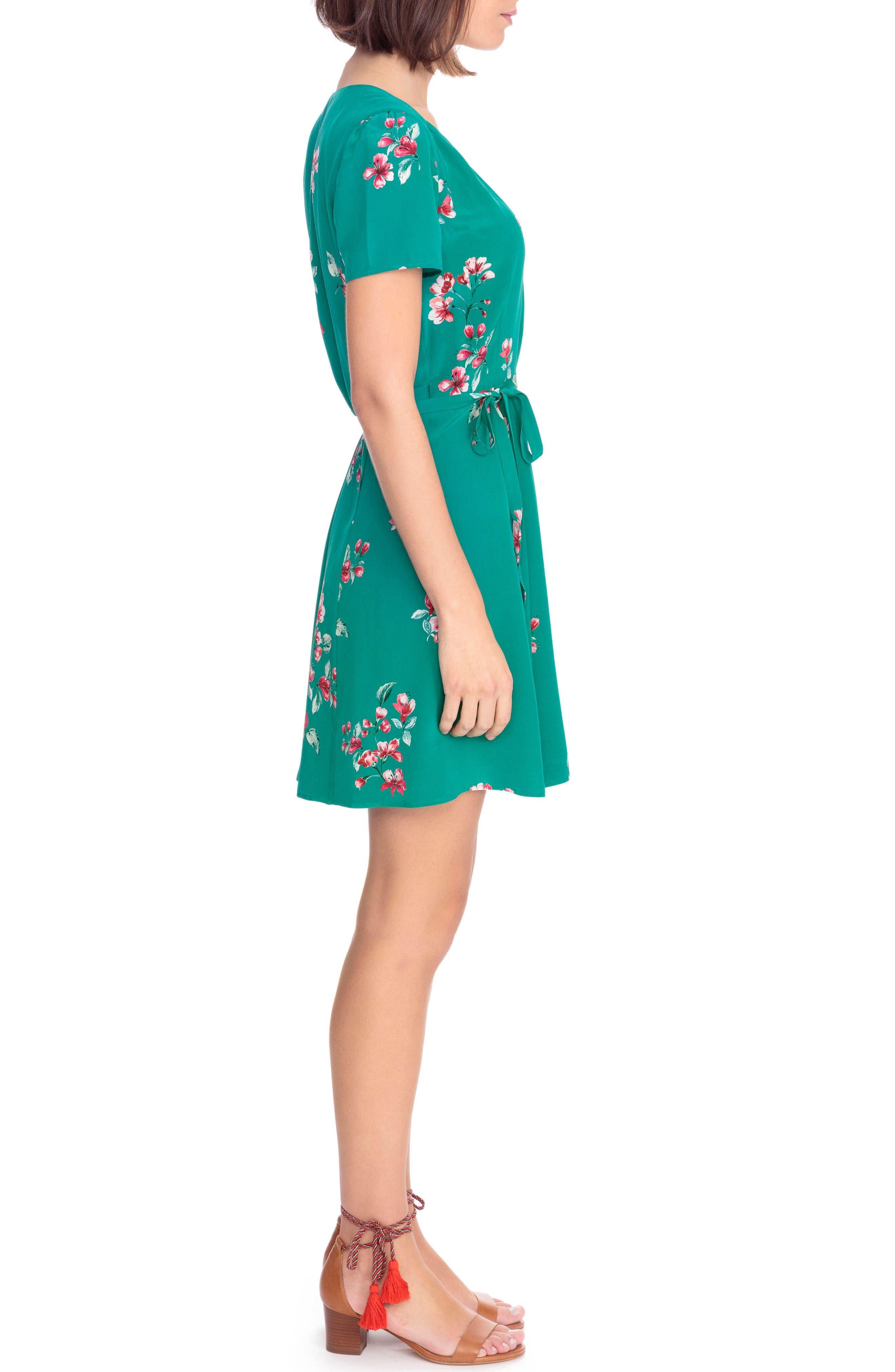 Anastasia Silk Wrap Dress,                             Alternate thumbnail 4, color,                             Bouquet Print On Green
