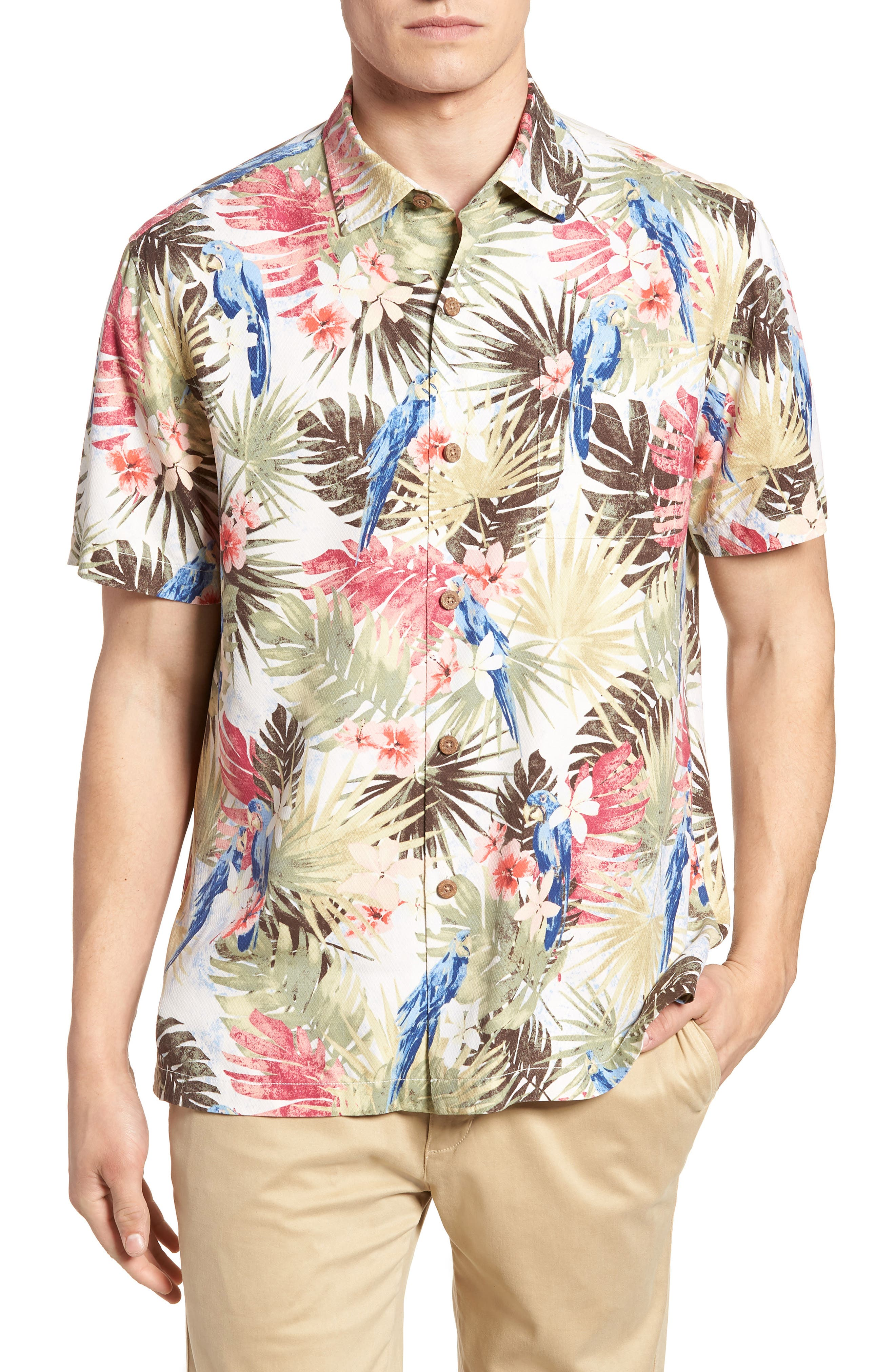 Marino Paradise Silk Camp Shirt,                         Main,                         color, Coconut Cream
