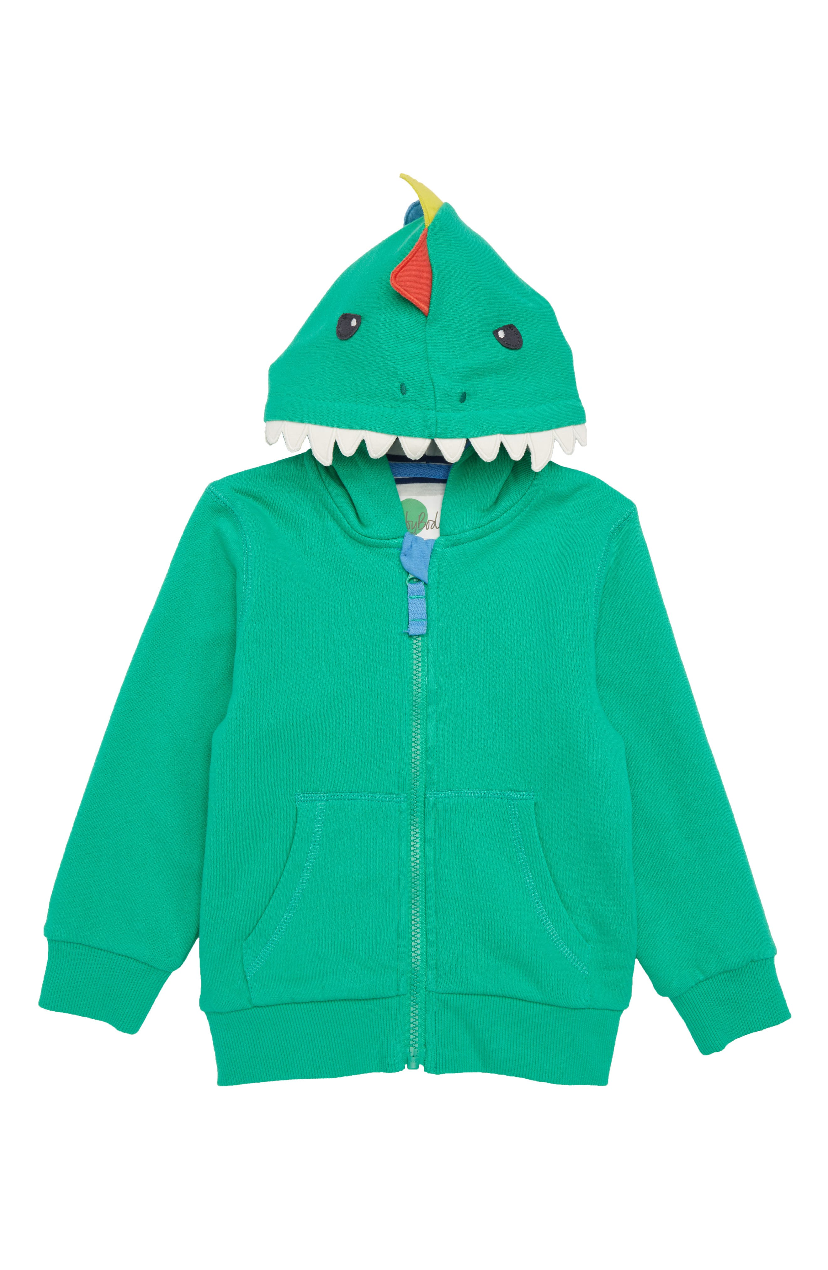 3D Dino Zip Hoodie,                             Main thumbnail 1, color,                             Astro Green