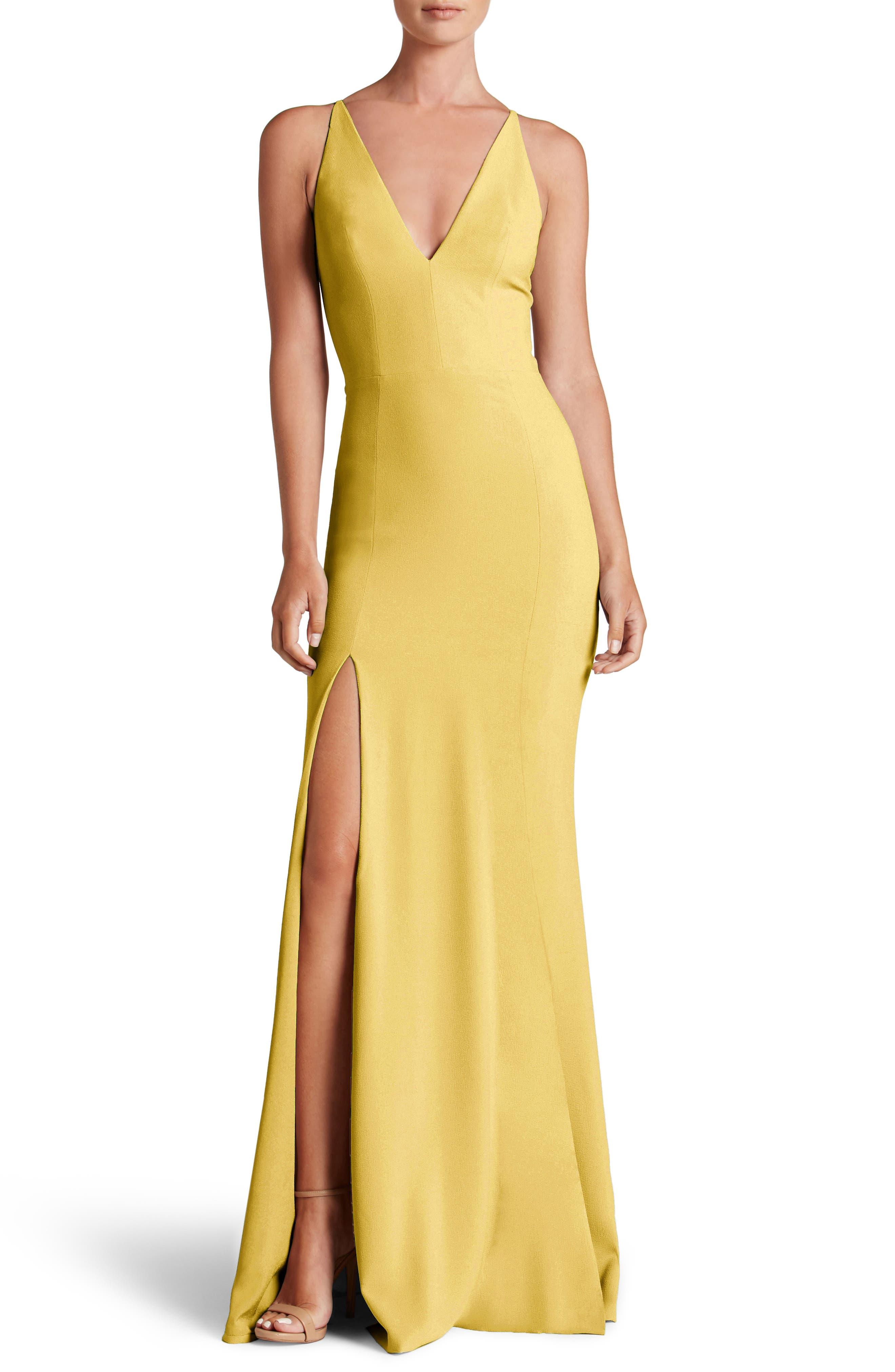 Iris Slit Crepe Gown,                             Main thumbnail 1, color,                             Sunflower