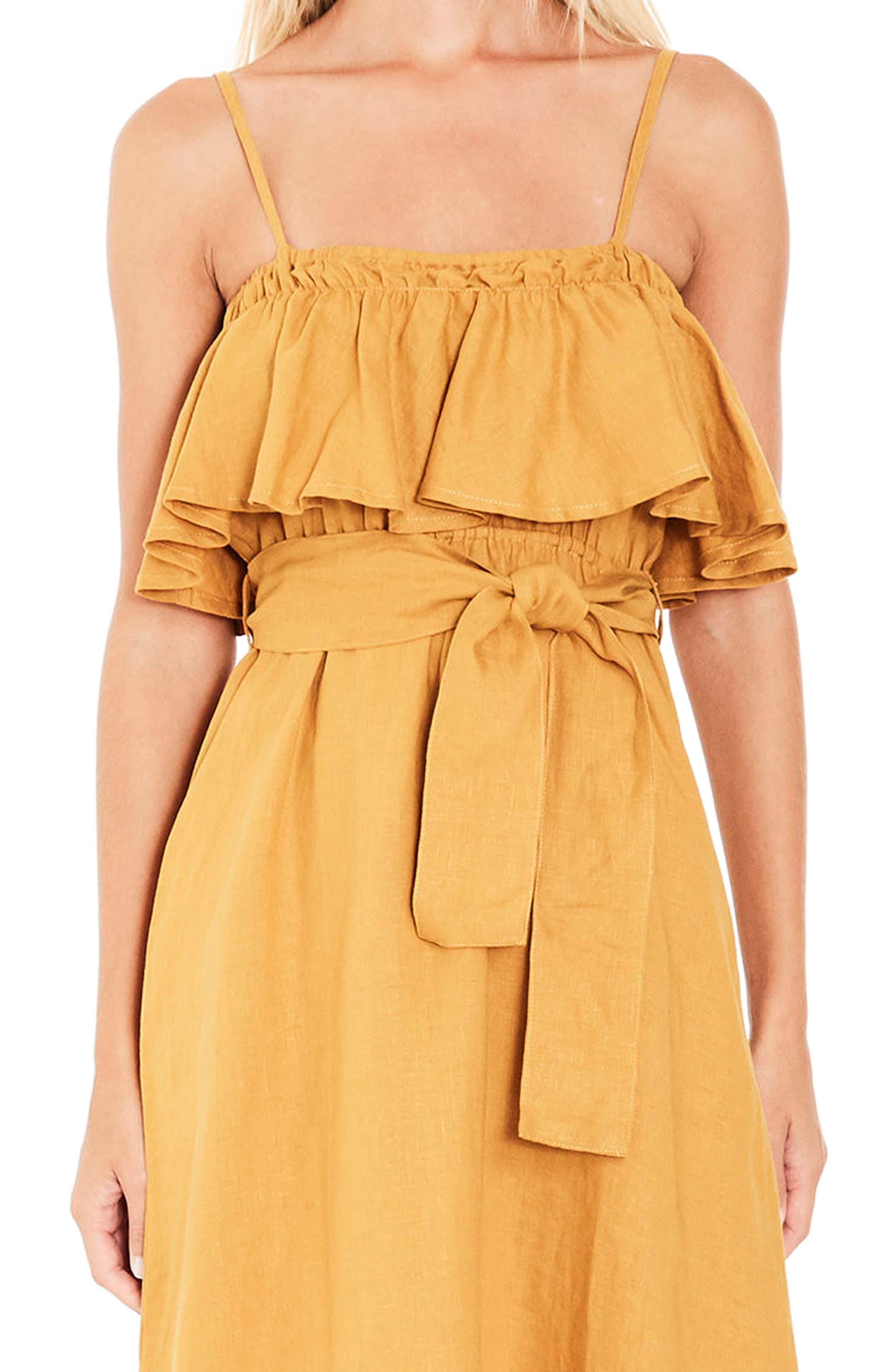 Santo Linen Midi Dress,                             Alternate thumbnail 5, color,                             Plain Marigold