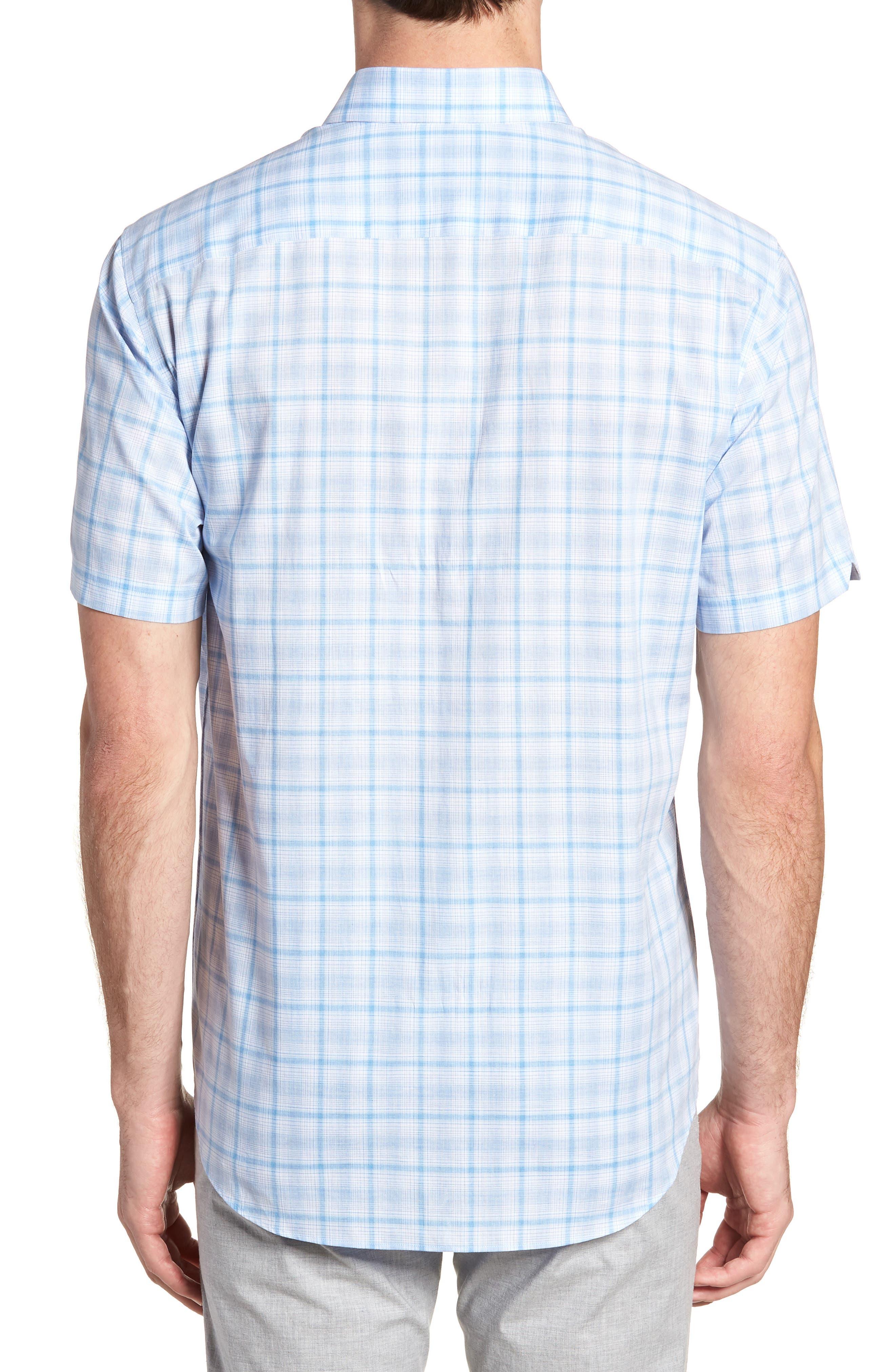 Kin Trim Fit Grid Plaid Sport Shirt,                             Alternate thumbnail 3, color,                             Light Blue
