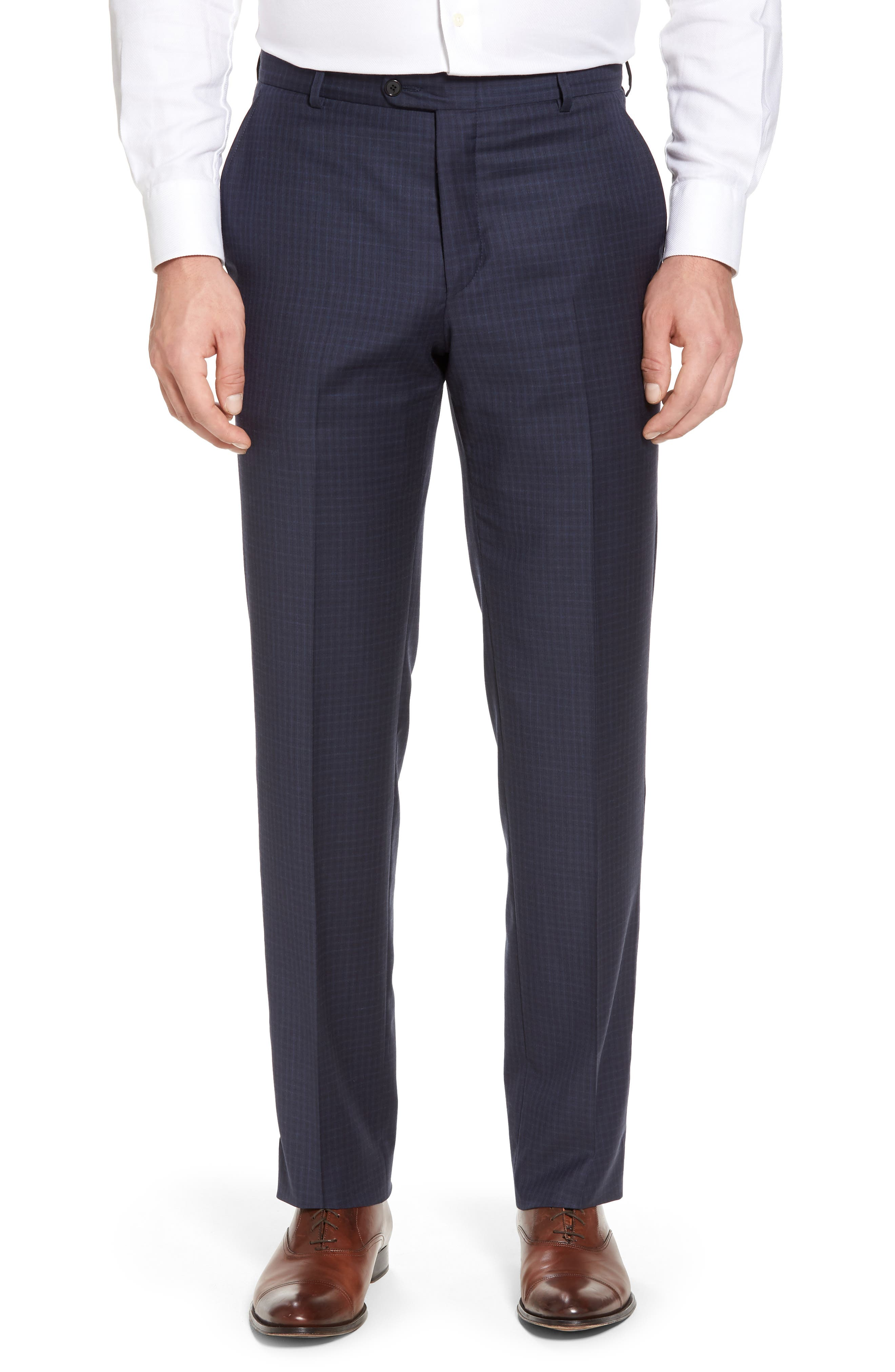 Classic B Fit Check Wool Suit,                             Alternate thumbnail 6, color,                             Navy